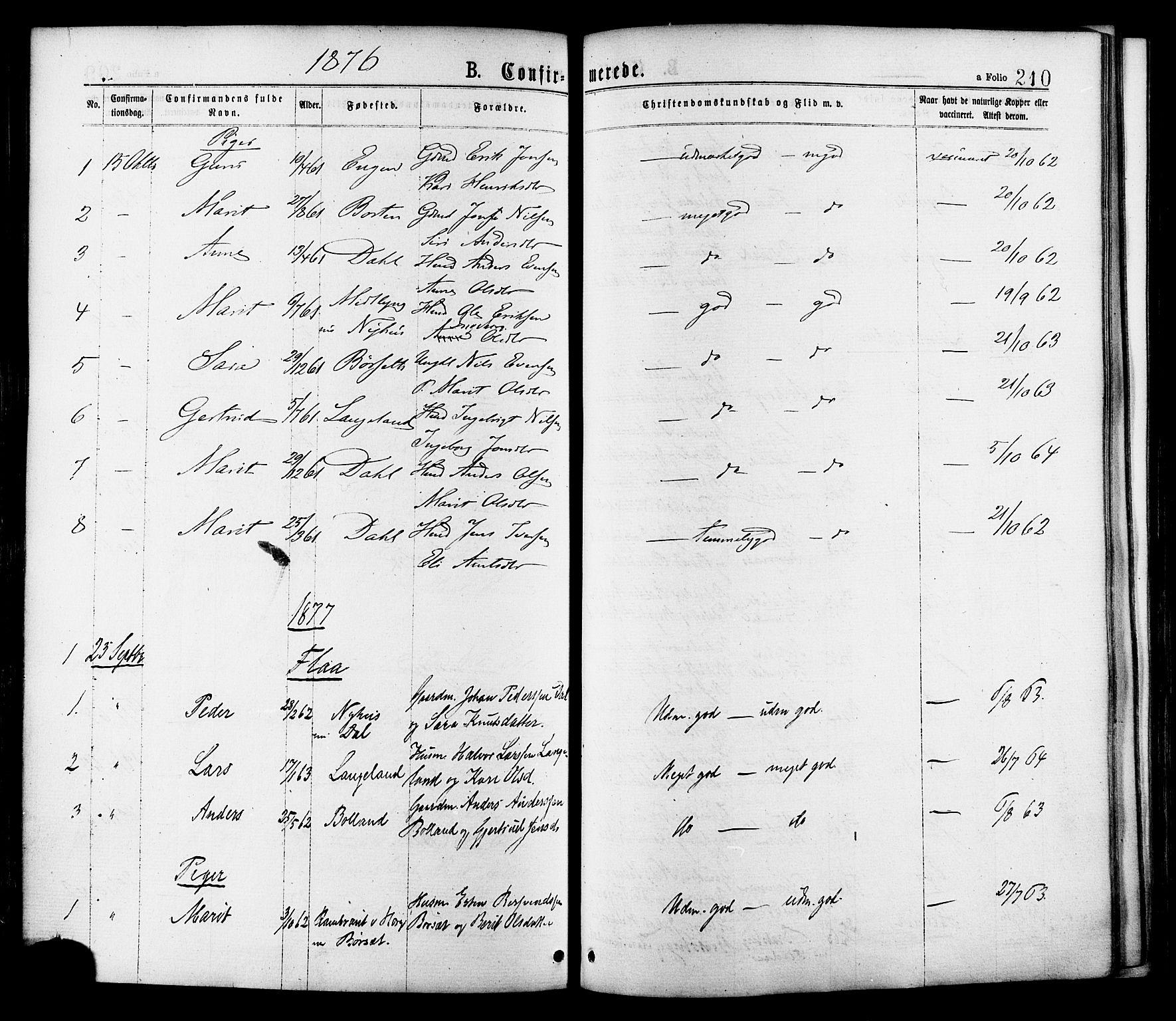 SAT, Ministerialprotokoller, klokkerbøker og fødselsregistre - Sør-Trøndelag, 691/L1079: Ministerialbok nr. 691A11, 1873-1886, s. 210