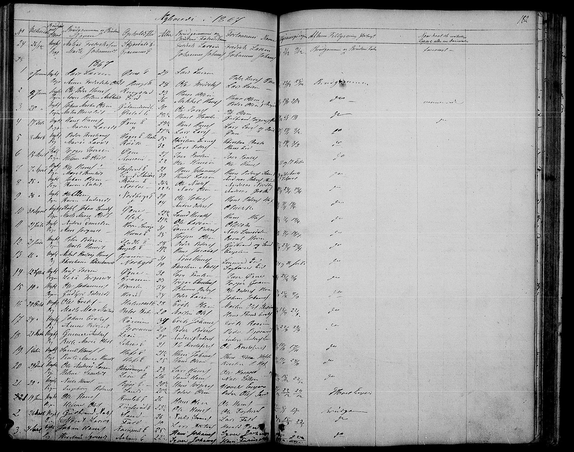 SAH, Søndre Land prestekontor, L/L0001: Klokkerbok nr. 1, 1849-1883, s. 182