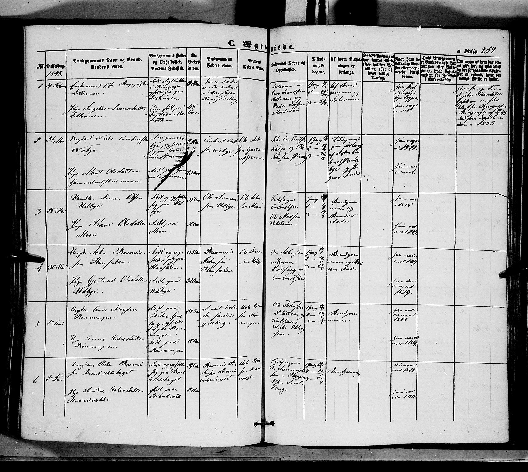SAH, Tynset prestekontor, Ministerialbok nr. 20, 1848-1862, s. 259