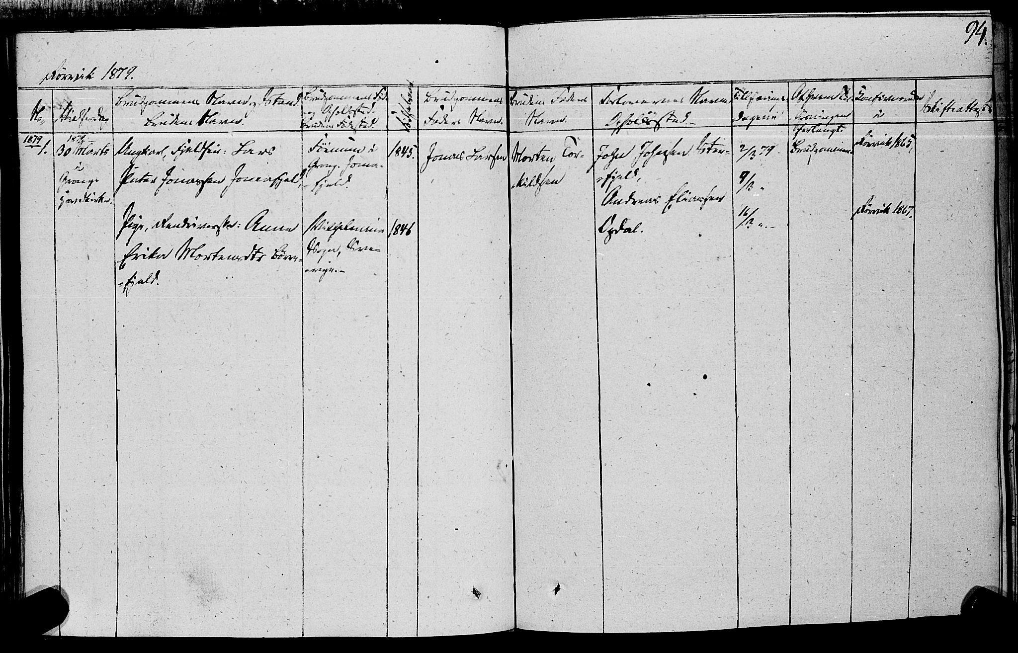 SAT, Ministerialprotokoller, klokkerbøker og fødselsregistre - Nord-Trøndelag, 762/L0538: Ministerialbok nr. 762A02 /1, 1833-1879, s. 94