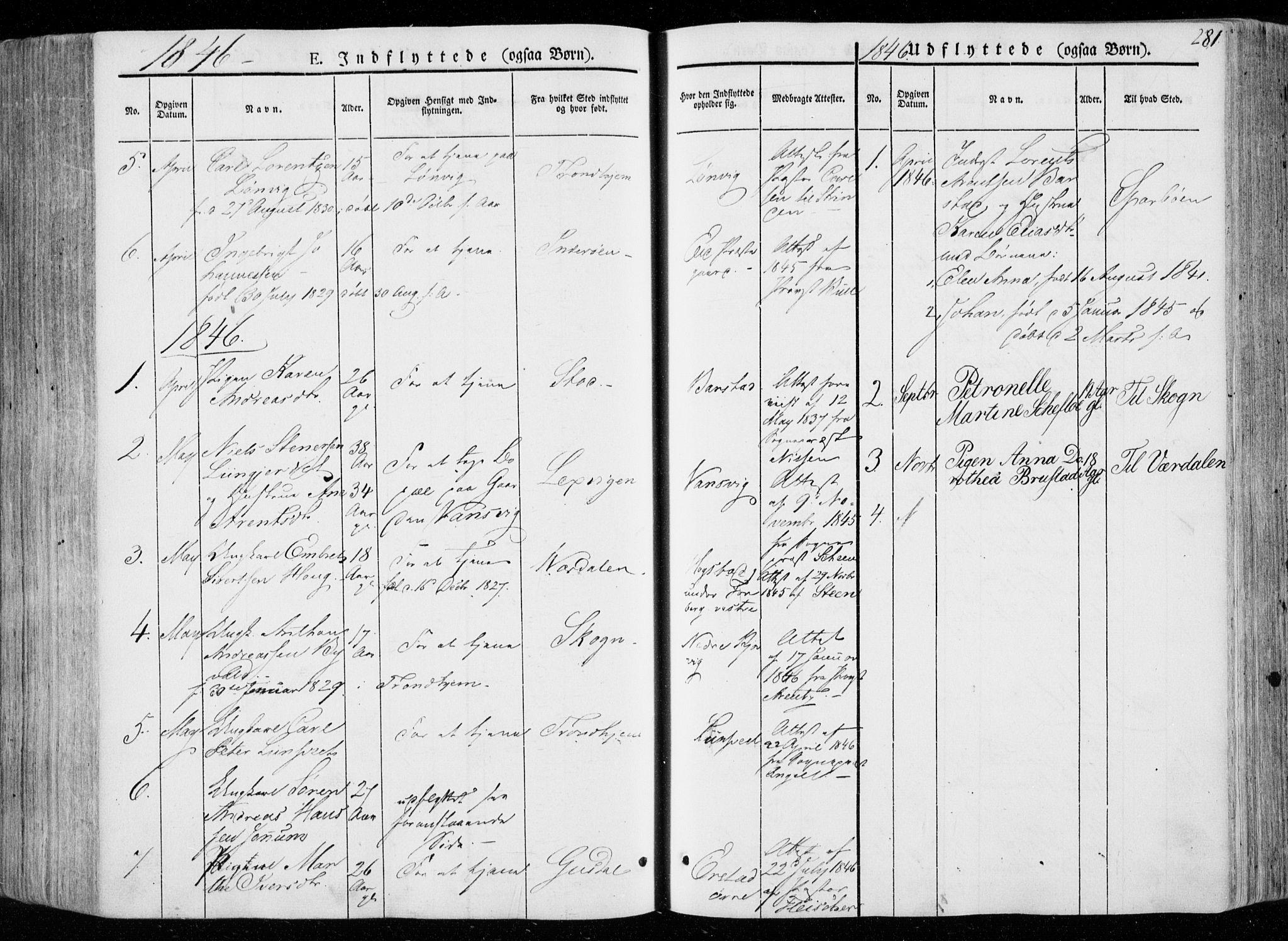 SAT, Ministerialprotokoller, klokkerbøker og fødselsregistre - Nord-Trøndelag, 722/L0218: Ministerialbok nr. 722A05, 1843-1868, s. 281