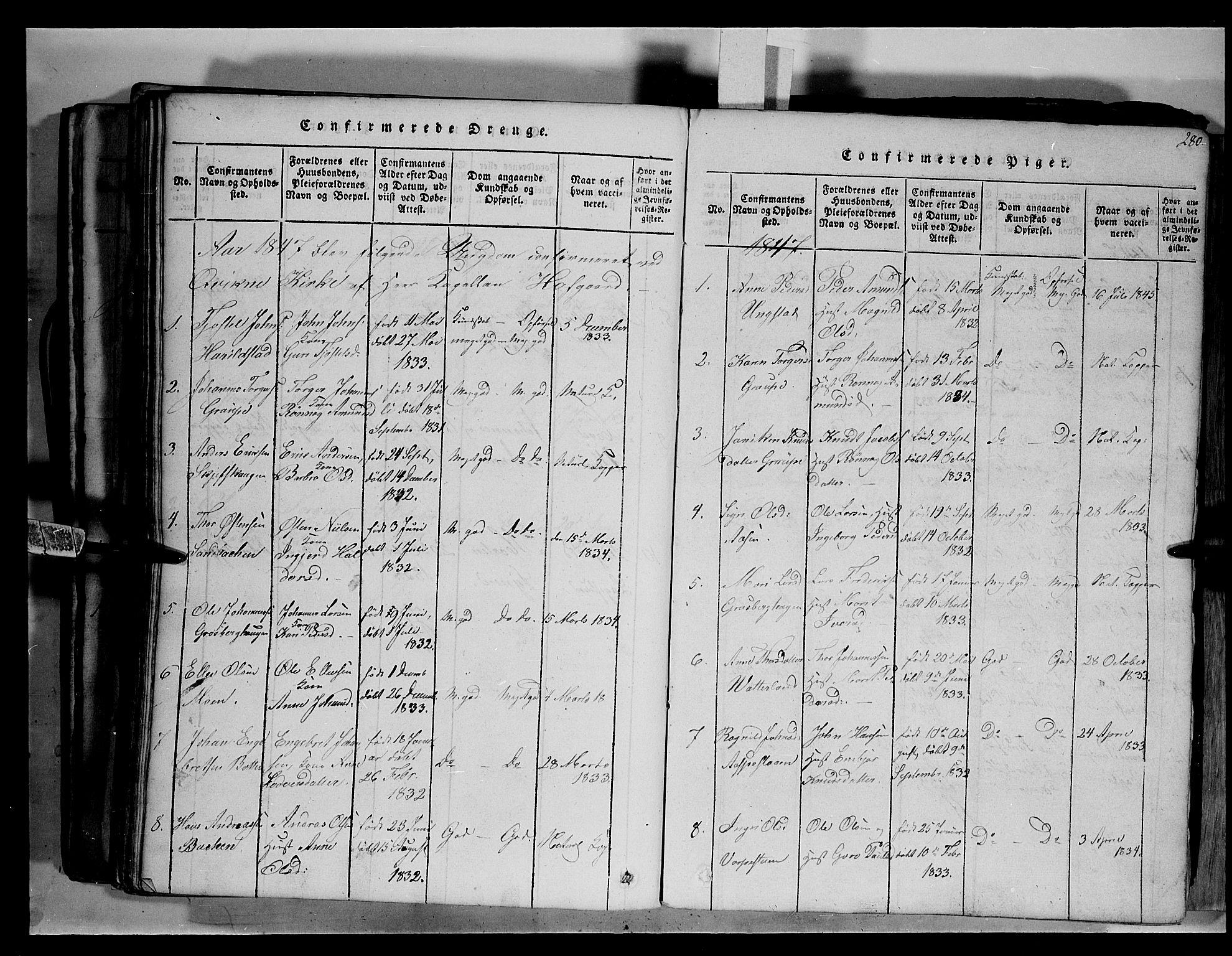 SAH, Fron prestekontor, H/Ha/Hab/L0003: Klokkerbok nr. 3, 1816-1850, s. 280