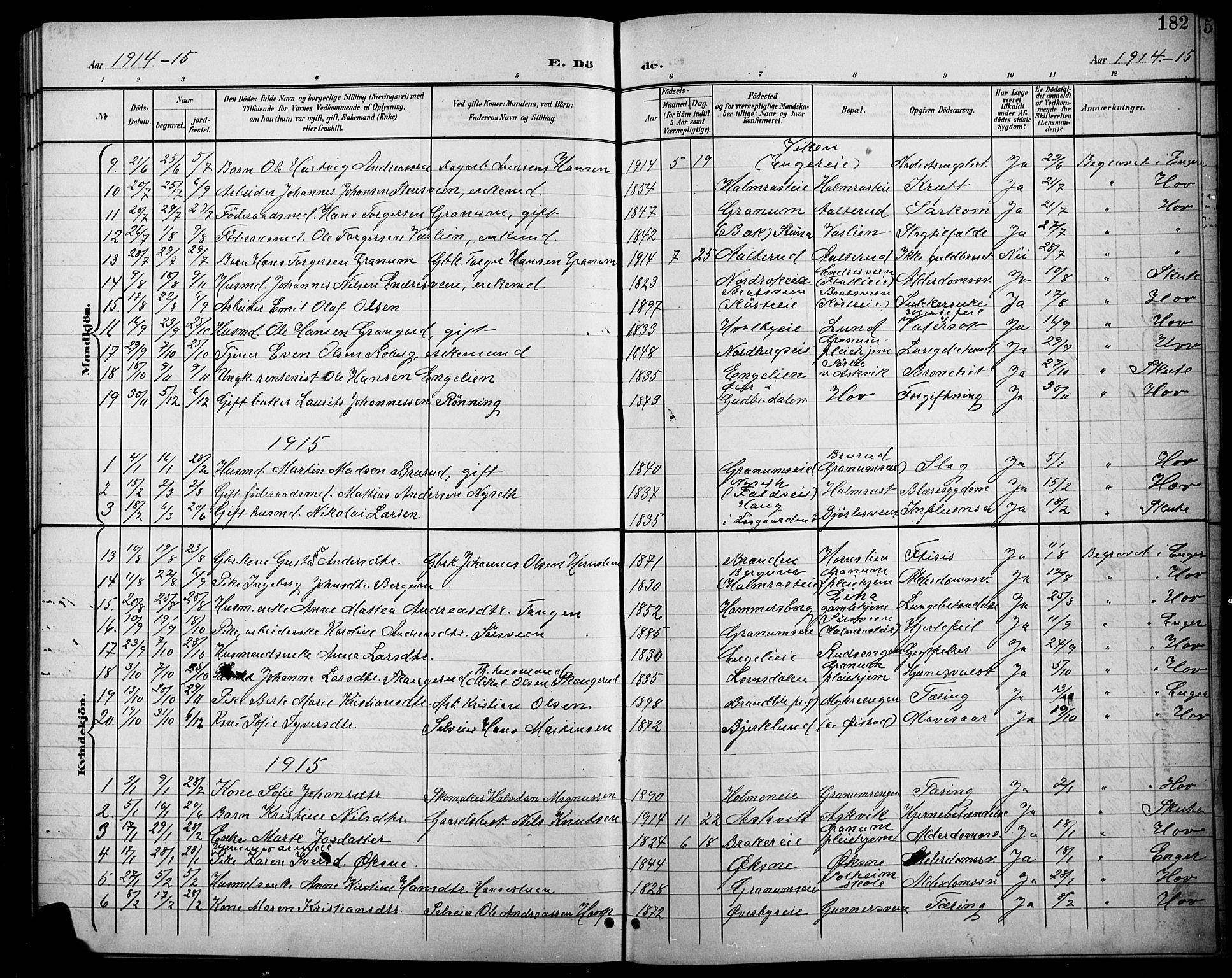 SAH, Søndre Land prestekontor, L/L0004: Klokkerbok nr. 4, 1901-1915, s. 182
