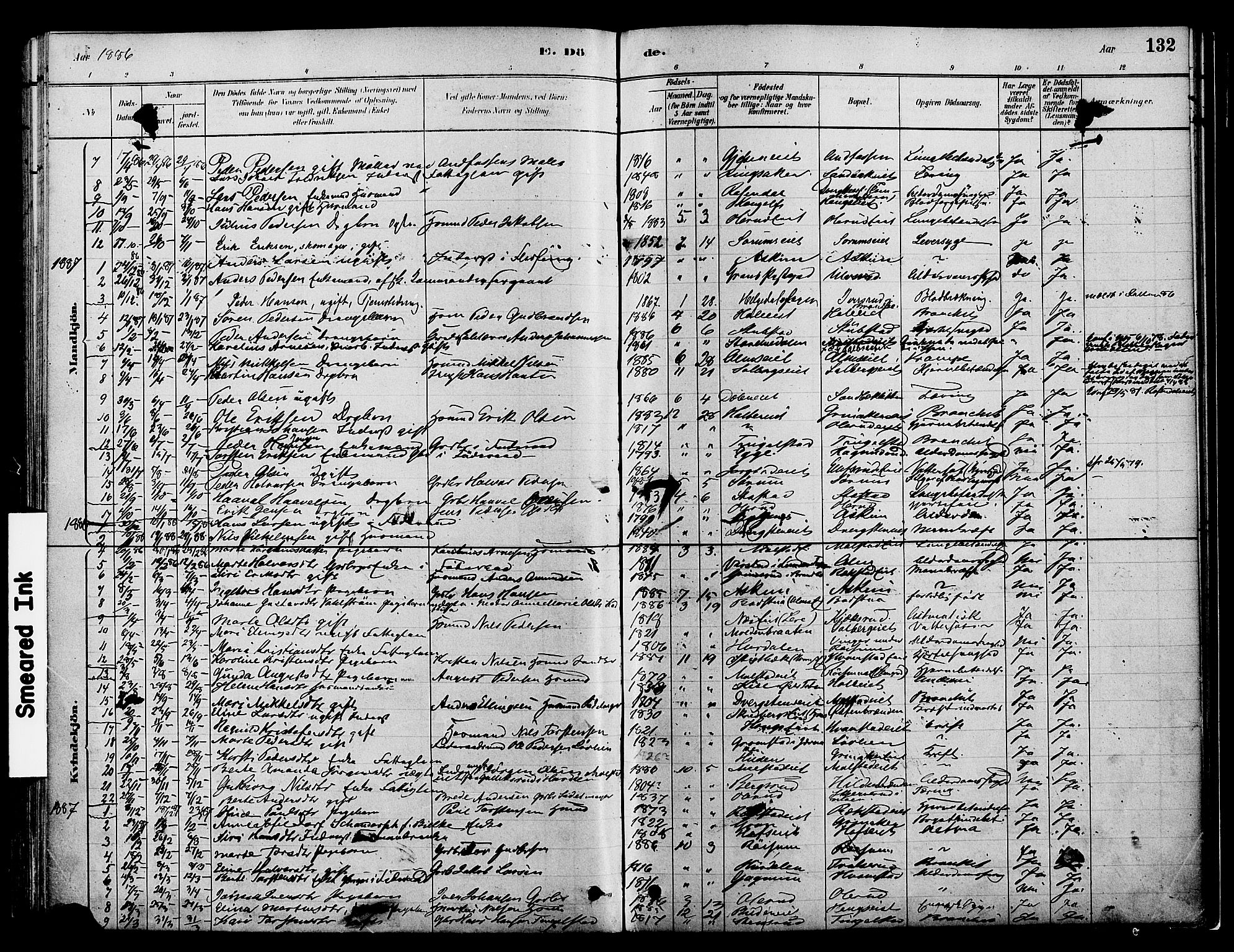 SAH, Gran prestekontor, Ministerialbok nr. 16, 1880-1888, s. 132
