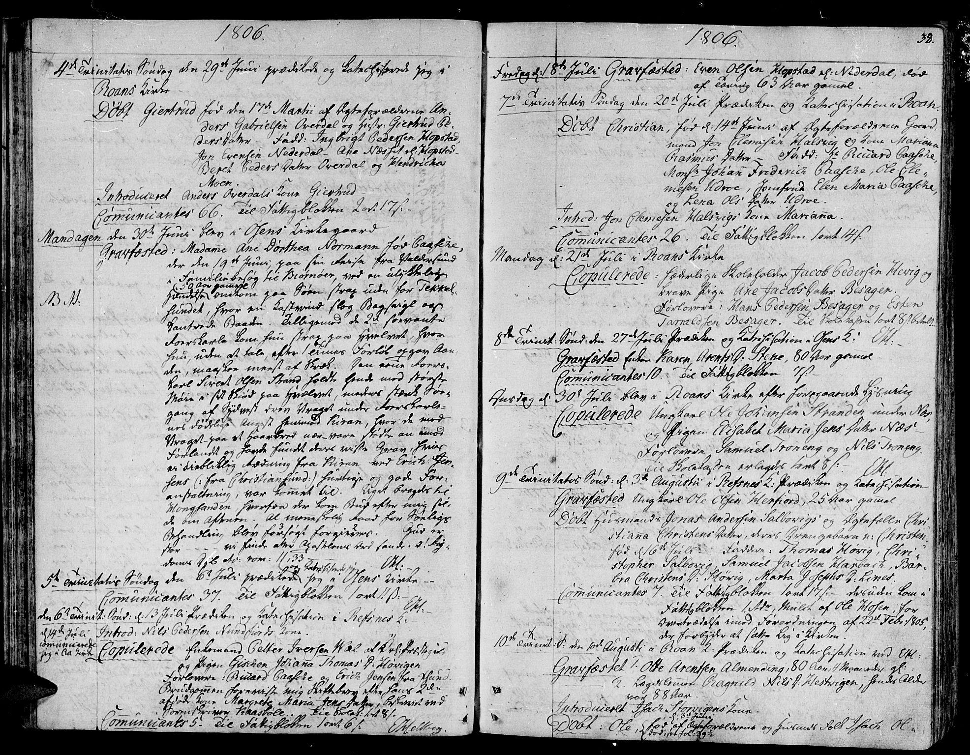 SAT, Ministerialprotokoller, klokkerbøker og fødselsregistre - Sør-Trøndelag, 657/L0701: Ministerialbok nr. 657A02, 1802-1831, s. 38