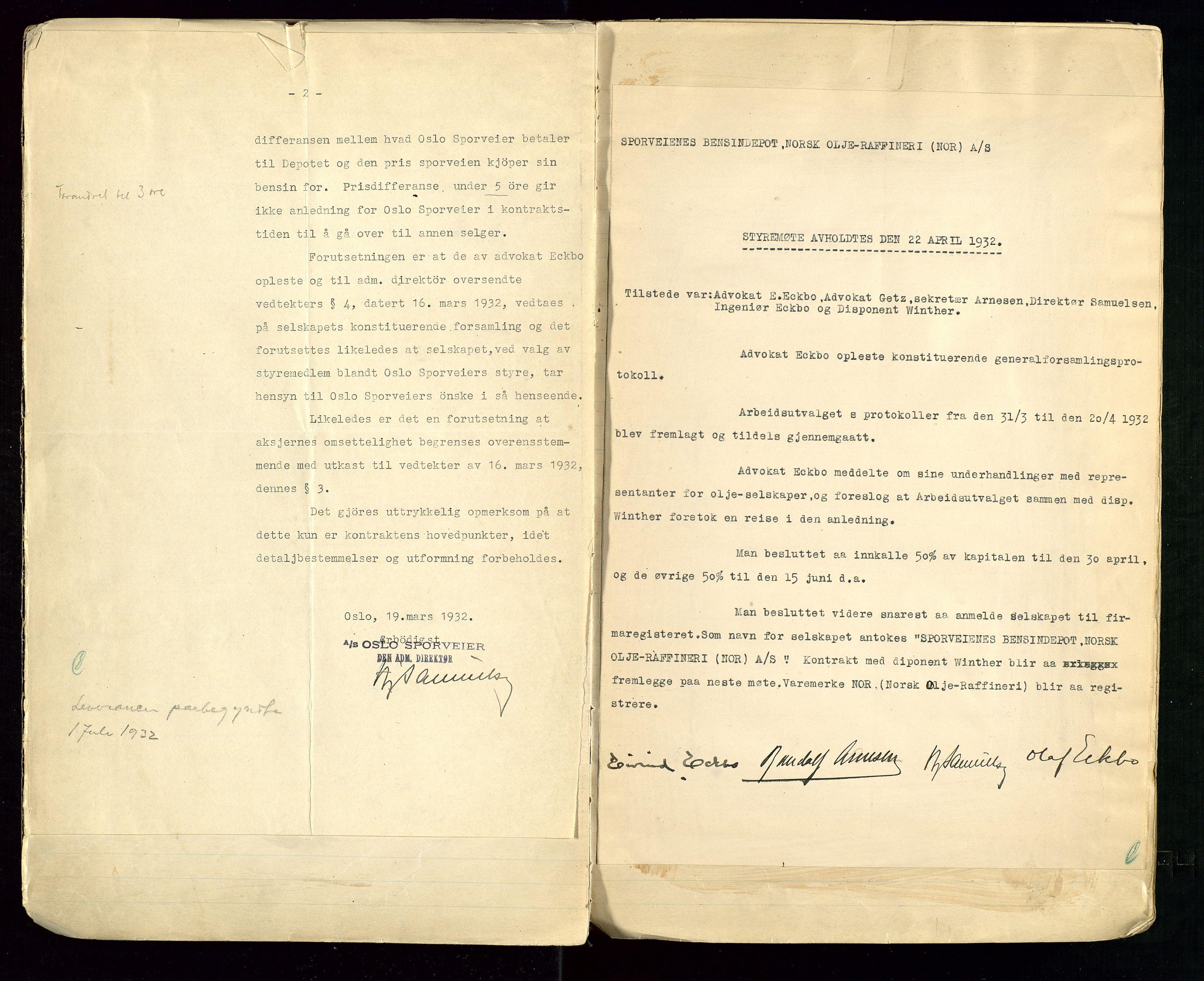 SAST, PA 1514 - Sporveienes Bensindepot, Norsk Oljeraffineri A/S, A/L0001: Styreprotokoll. Forhandlingsprotokoll Arbeidsutvaget, 1932-1949, s. 9