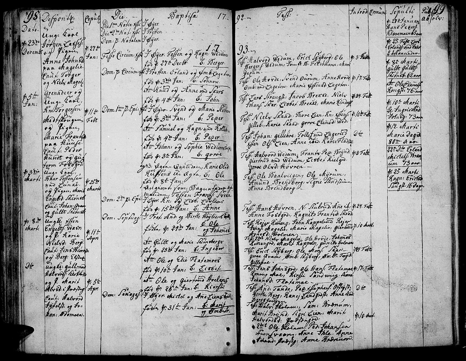 SAH, Øyer prestekontor, Ministerialbok nr. 3, 1784-1824, s. 98-99