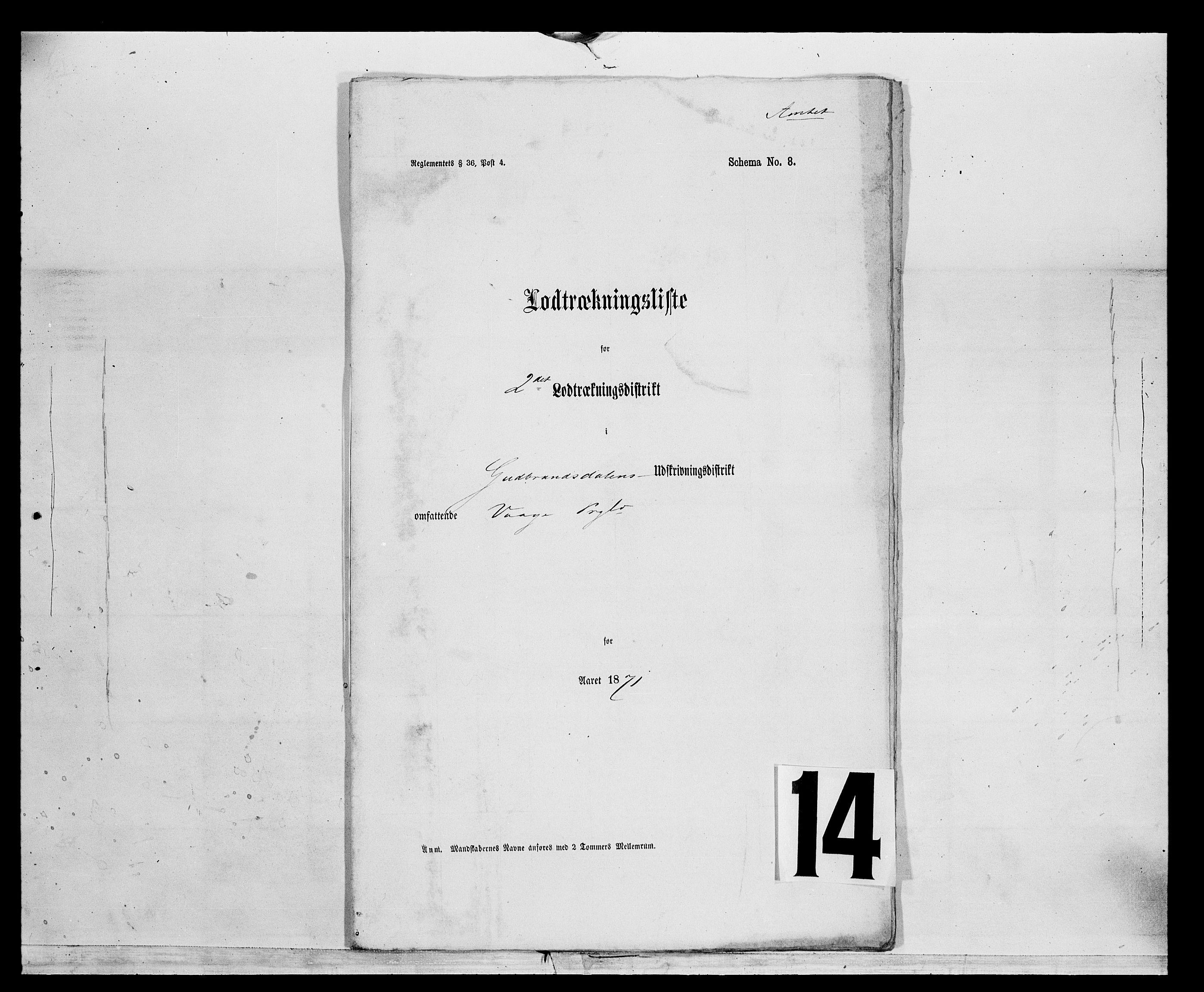 SAH, Fylkesmannen i Oppland, K/Kg/L1175: Heidal, Sel, Vågå, Lom og Skjåk, 1860-1879, s. 1