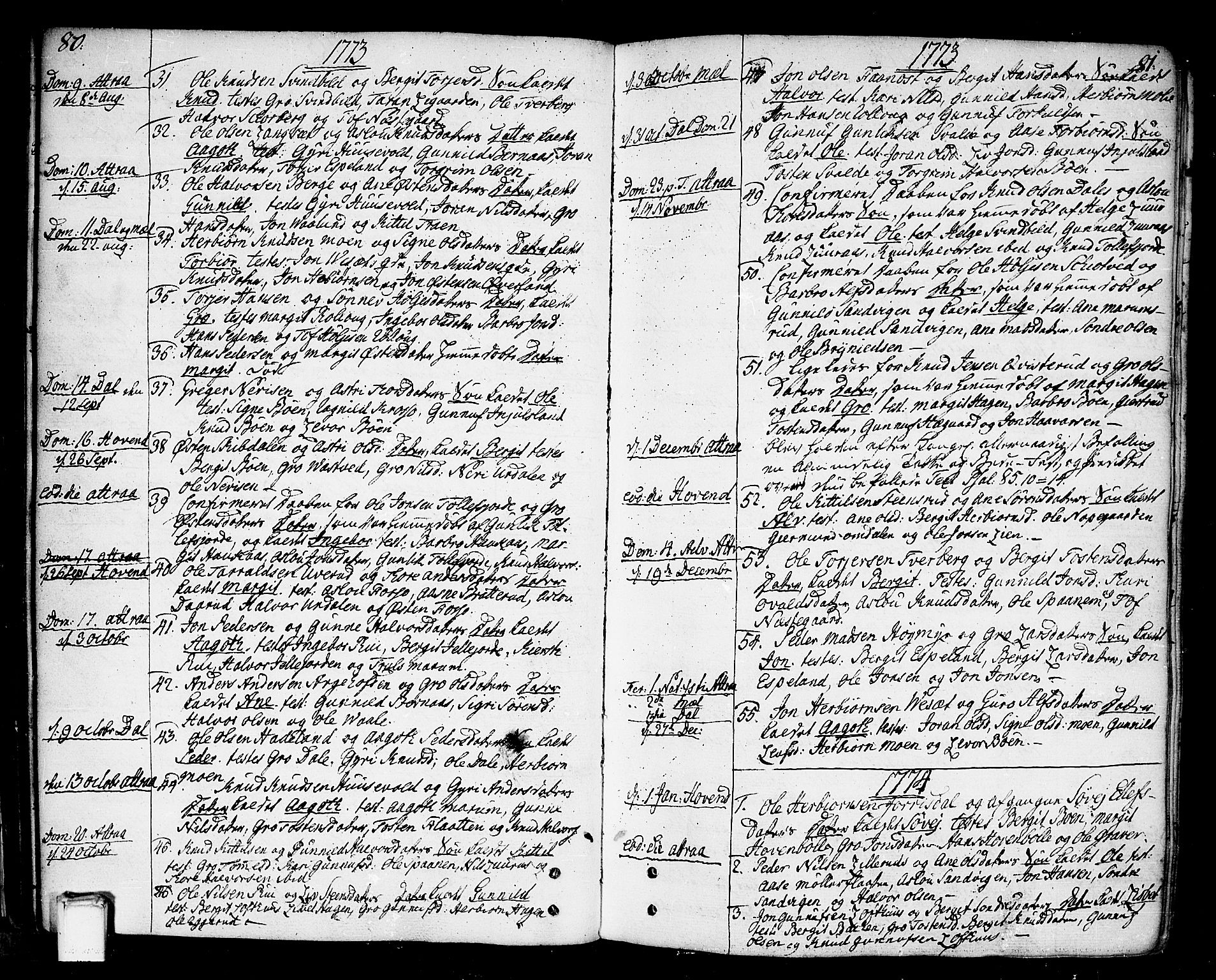 SAKO, Tinn kirkebøker, F/Fa/L0002: Ministerialbok nr. I 2, 1757-1810, s. 80-81