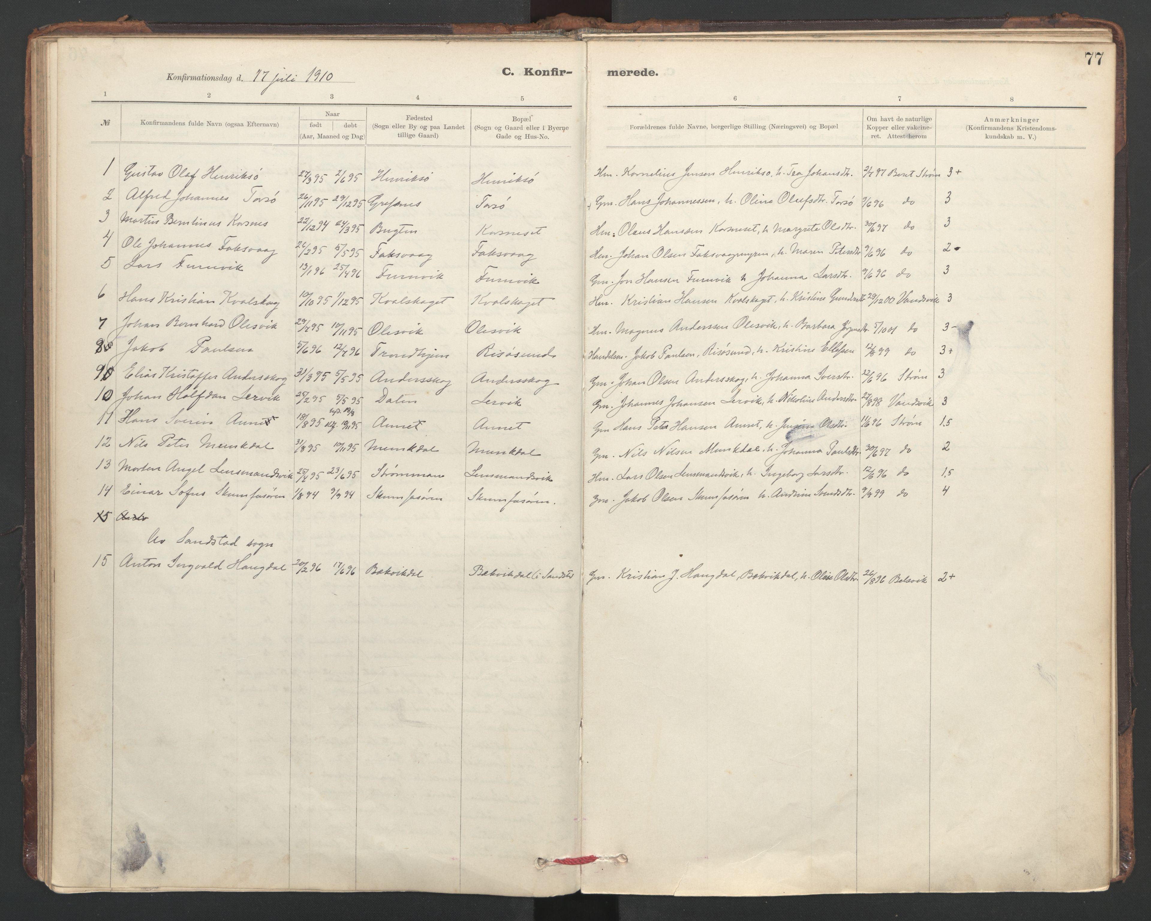 SAT, Ministerialprotokoller, klokkerbøker og fødselsregistre - Sør-Trøndelag, 635/L0552: Ministerialbok nr. 635A02, 1899-1919, s. 77