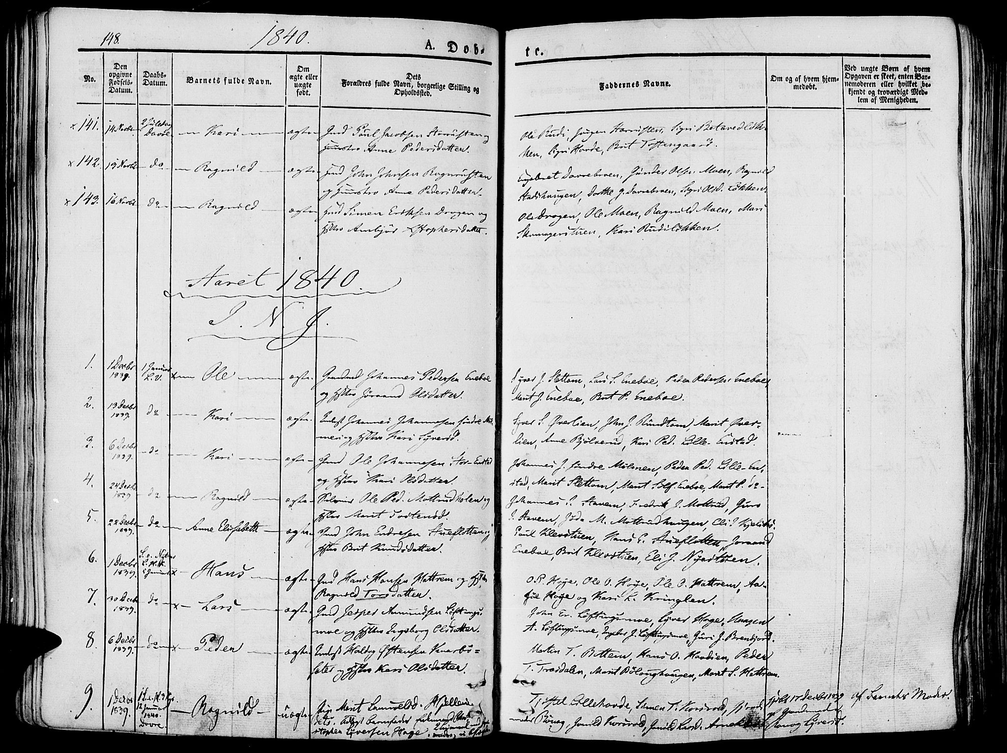 SAH, Lesja prestekontor, Ministerialbok nr. 5, 1830-1842, s. 148