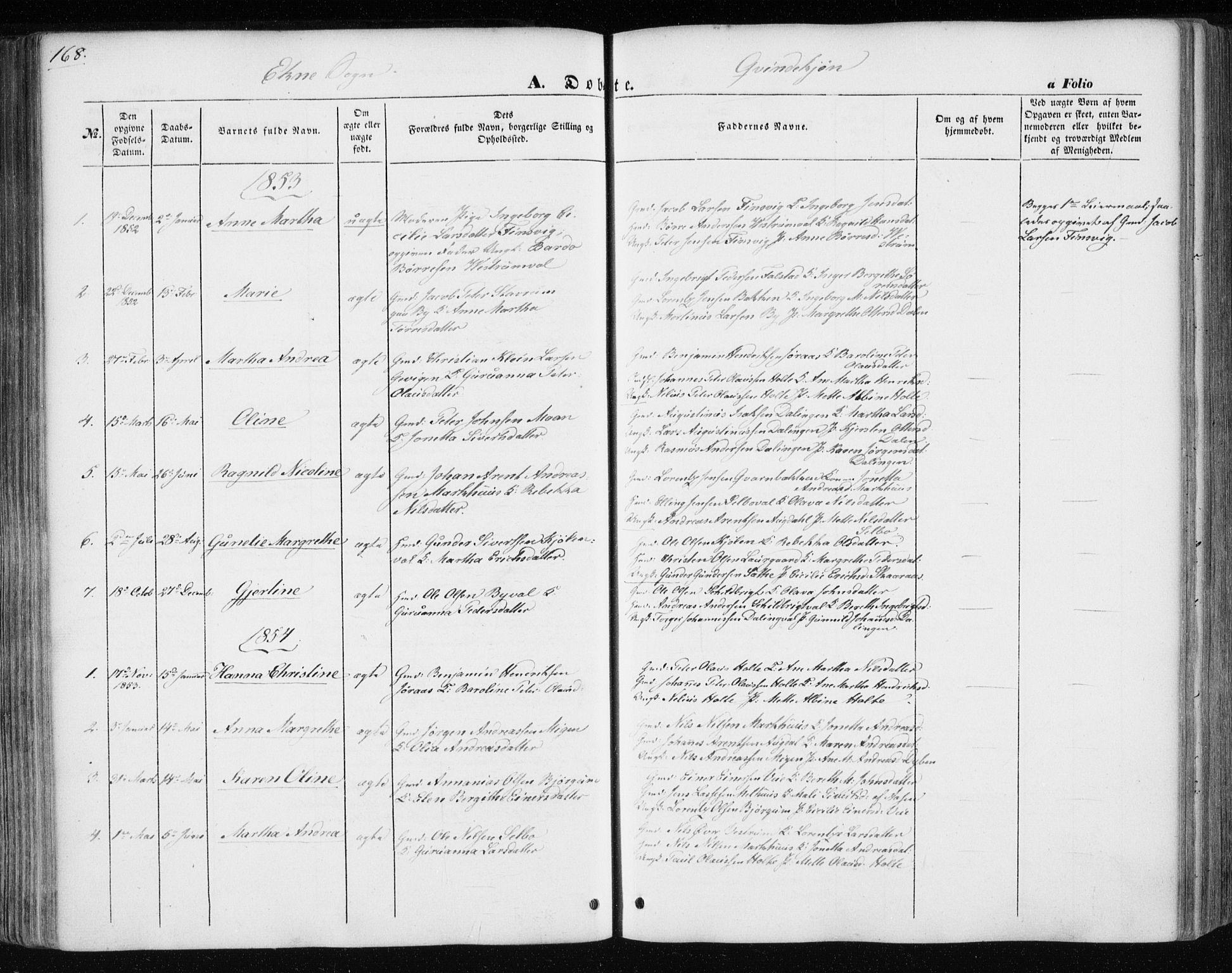 SAT, Ministerialprotokoller, klokkerbøker og fødselsregistre - Nord-Trøndelag, 717/L0154: Ministerialbok nr. 717A07 /3, 1850-1862, s. 168