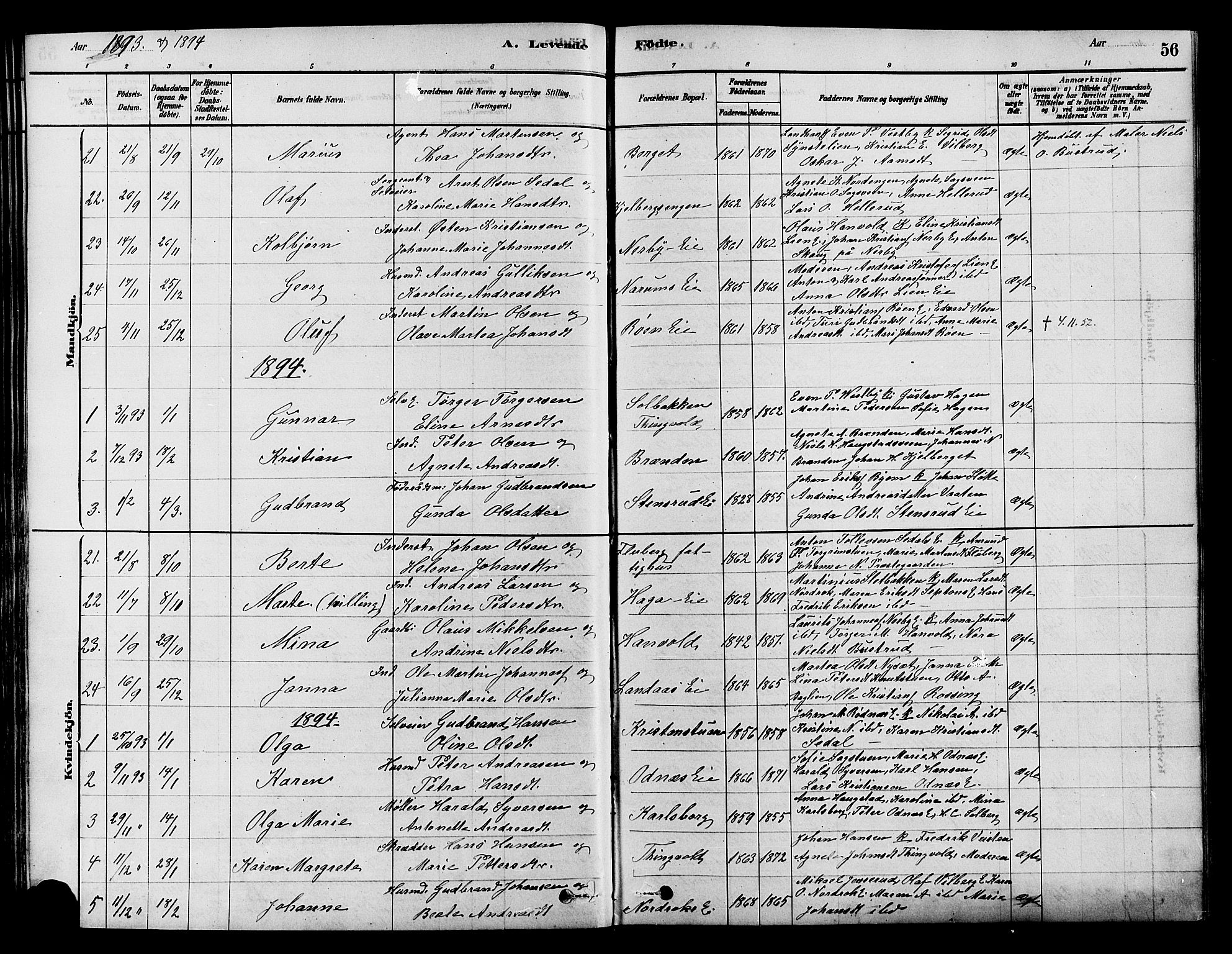 SAH, Søndre Land prestekontor, K/L0002: Ministerialbok nr. 2, 1878-1894, s. 56