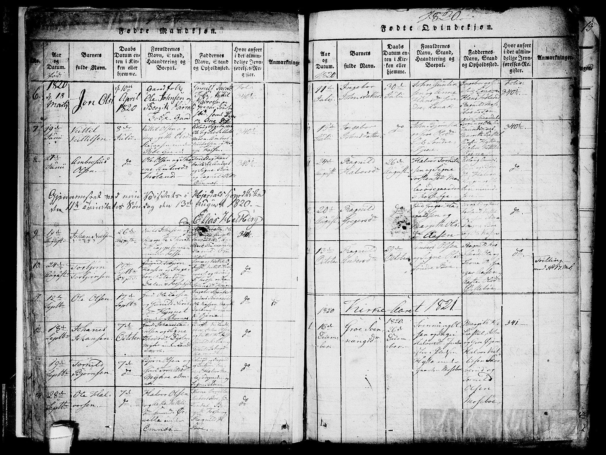 SAKO, Hjartdal kirkebøker, F/Fb/L0001: Ministerialbok nr. II 1, 1815-1843, s. 11