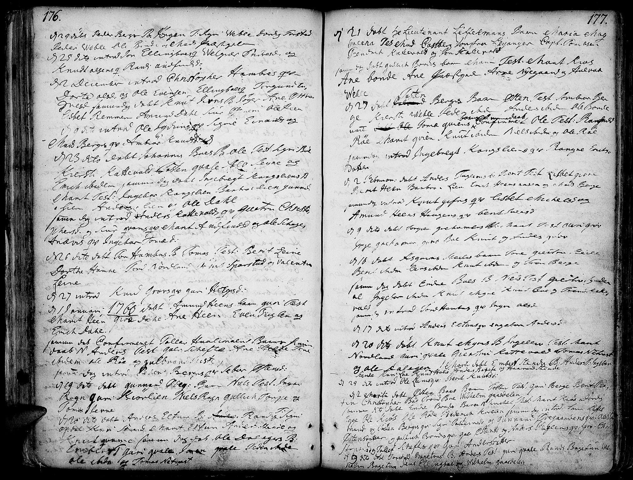 SAH, Vang prestekontor, Valdres, Ministerialbok nr. 1, 1730-1796, s. 176-177