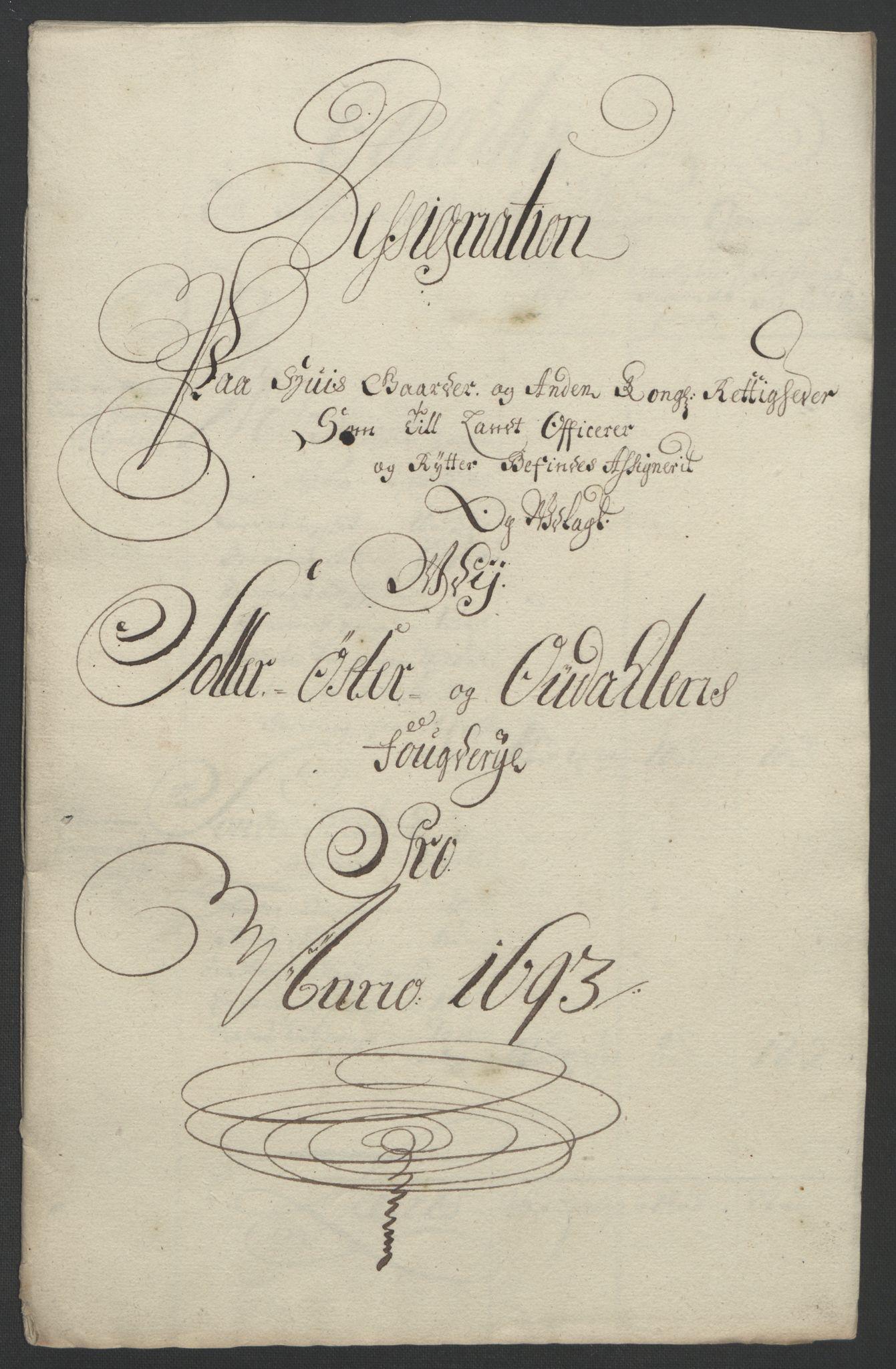 RA, Rentekammeret inntil 1814, Reviderte regnskaper, Fogderegnskap, R13/L0831: Fogderegnskap Solør, Odal og Østerdal, 1693, s. 253
