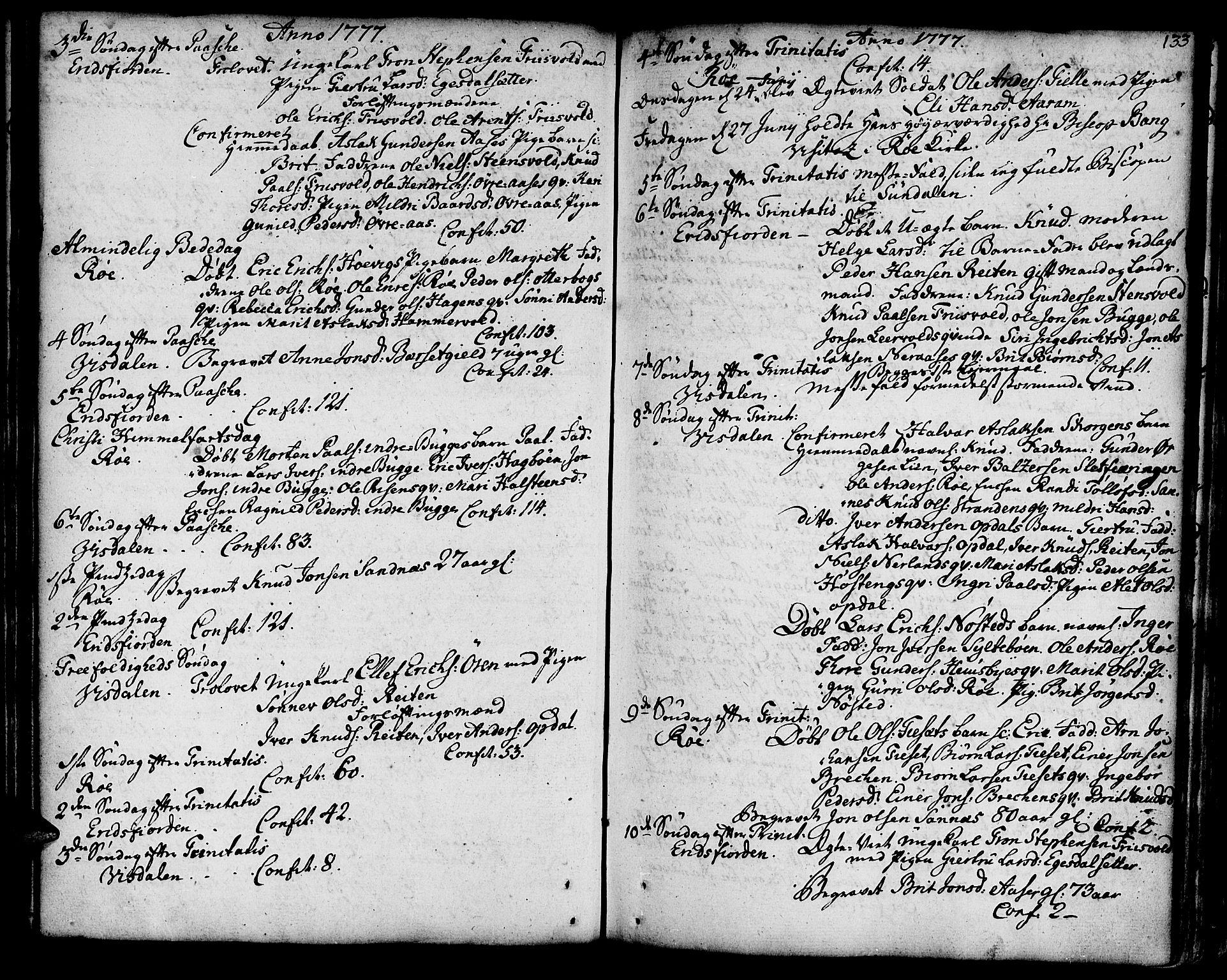 SAT, Ministerialprotokoller, klokkerbøker og fødselsregistre - Møre og Romsdal, 551/L0621: Ministerialbok nr. 551A01, 1757-1803, s. 133
