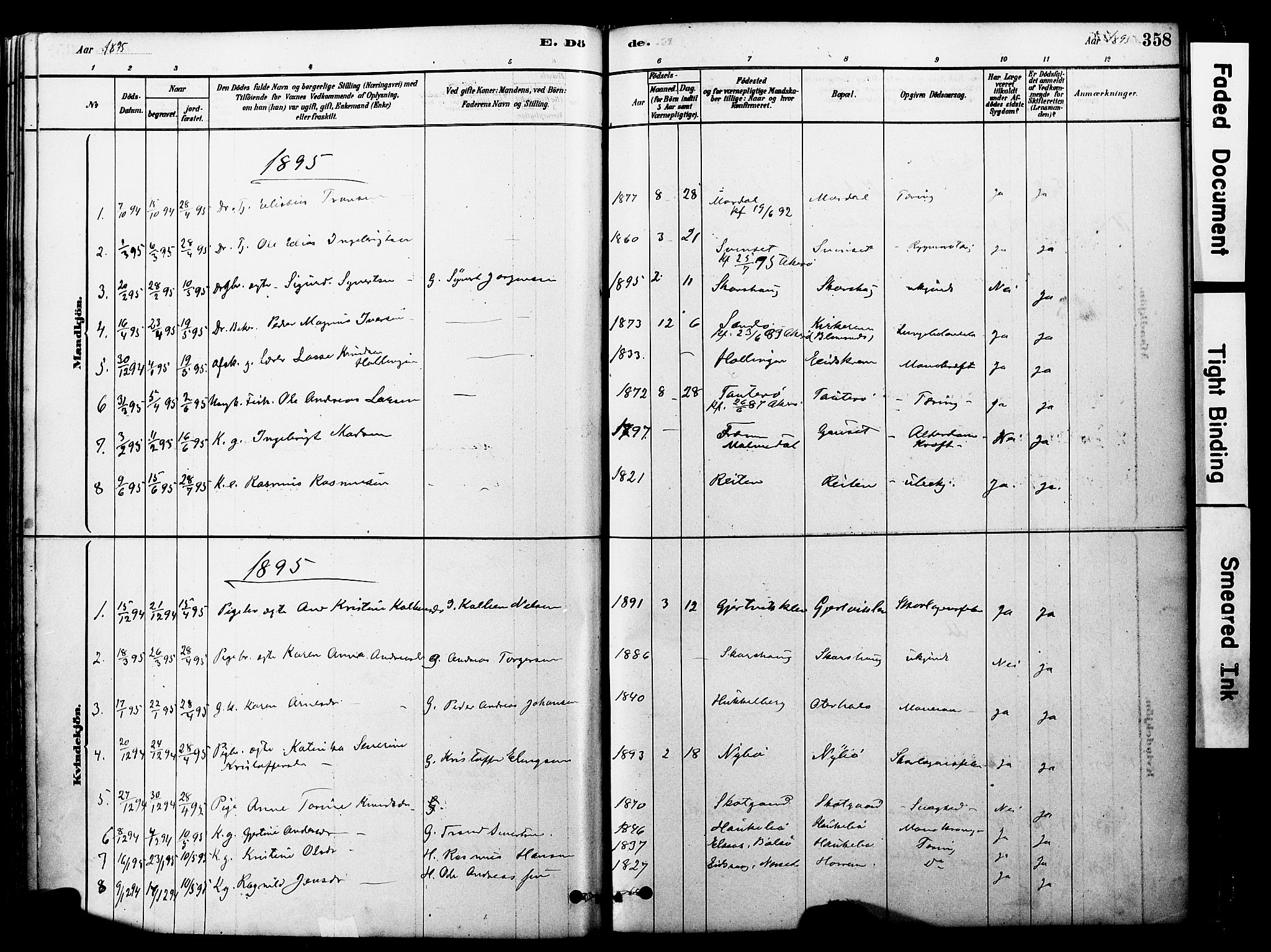 SAT, Ministerialprotokoller, klokkerbøker og fødselsregistre - Møre og Romsdal, 560/L0721: Ministerialbok nr. 560A05, 1878-1917, s. 358