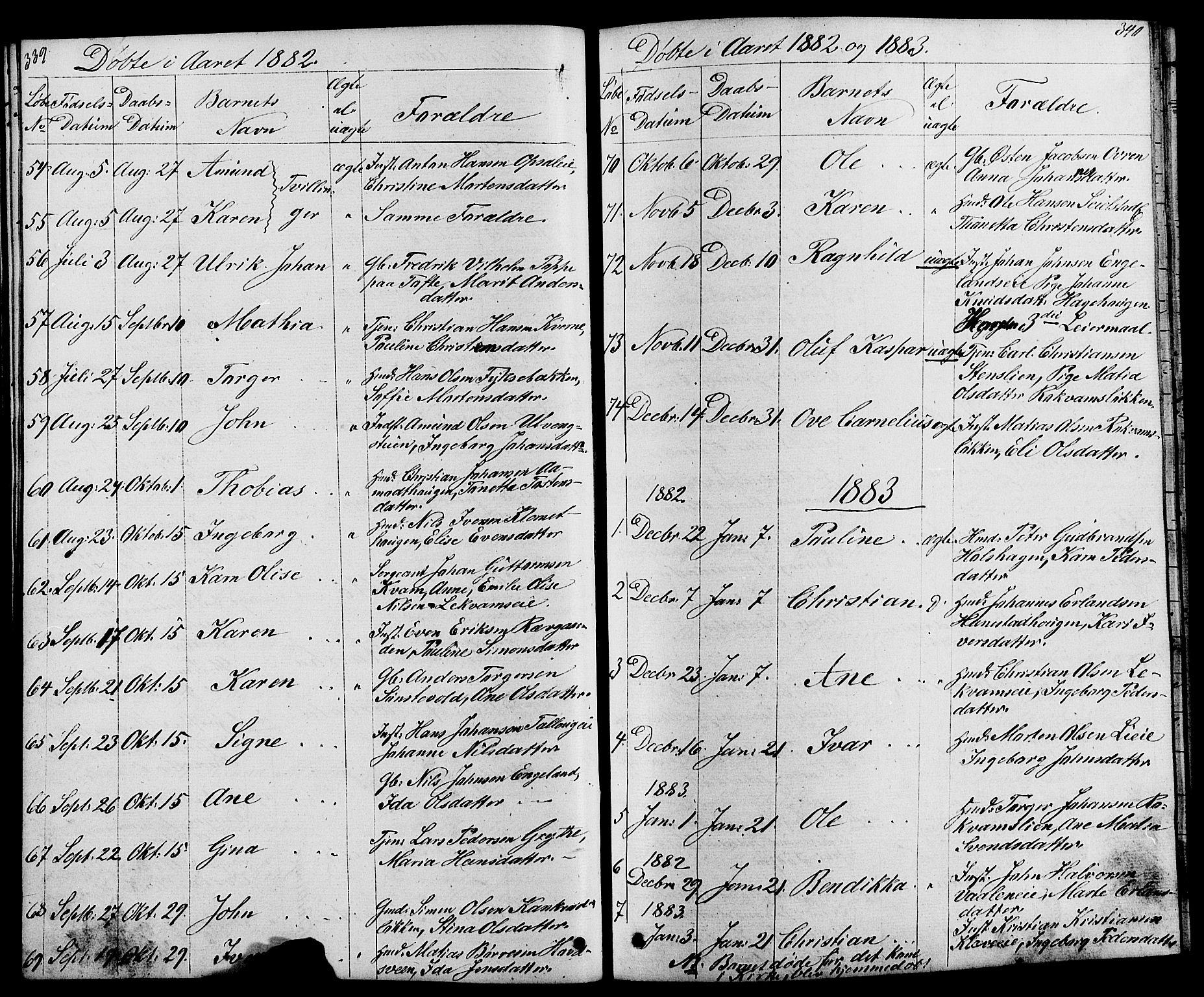 SAH, Østre Gausdal prestekontor, Klokkerbok nr. 1, 1863-1893, s. 339-340
