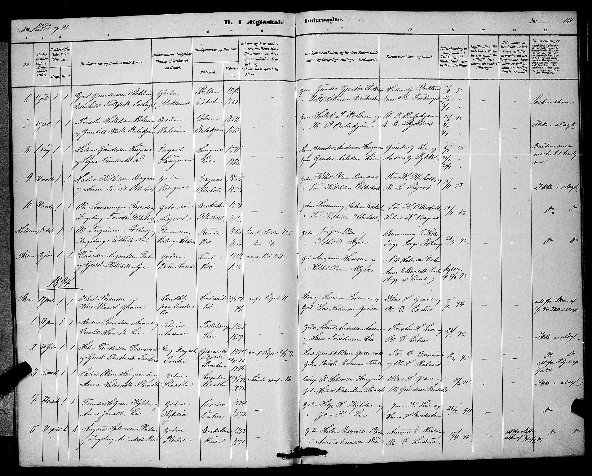 SAKO, Bø kirkebøker, G/Ga/L0005: Klokkerbok nr. 5, 1883-1897, s. 164