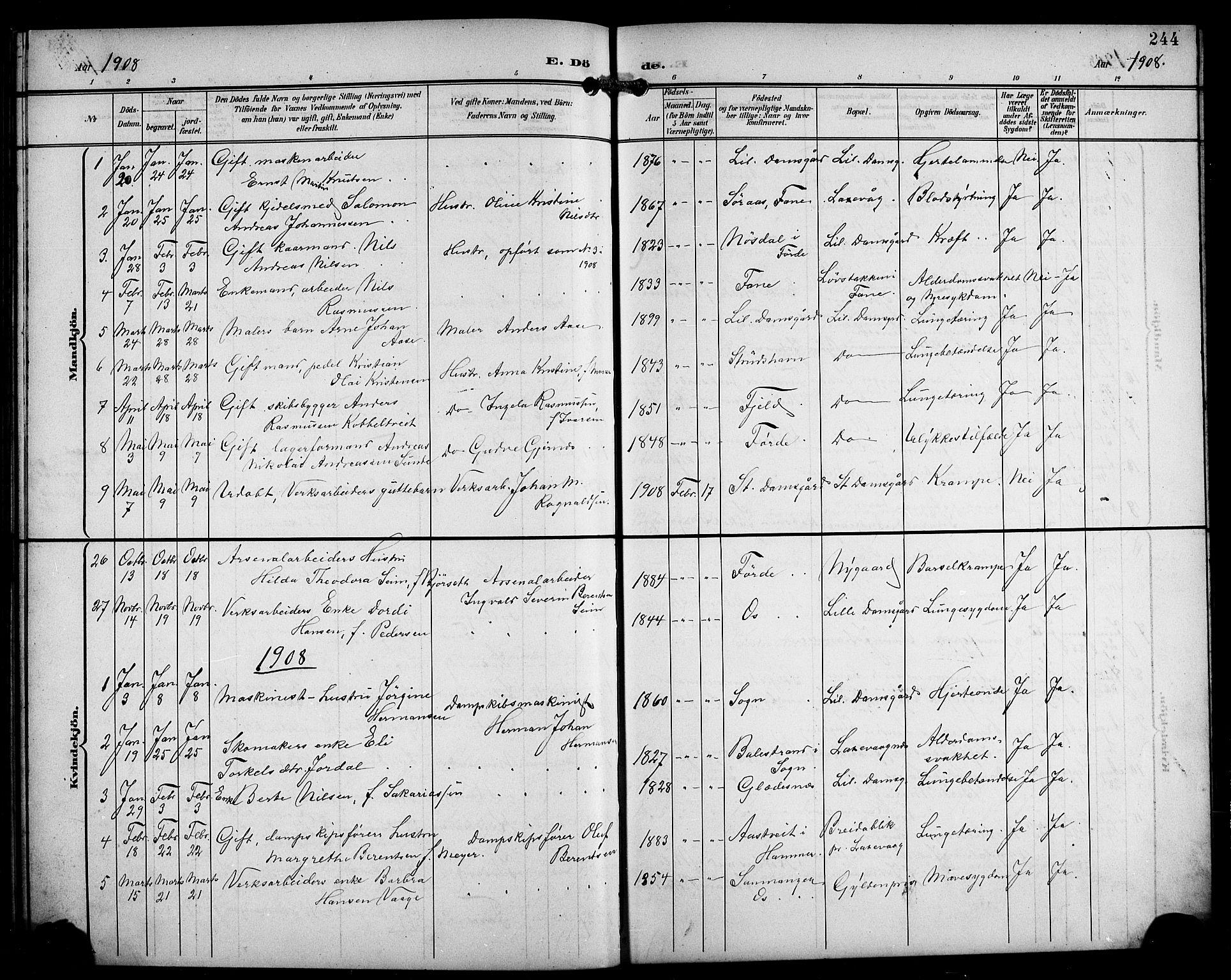 SAB, Laksevåg Sokneprestembete, H/Ha/Hab/Haba/L0004: Klokkerbok nr. A 4, 1899-1909, s. 244