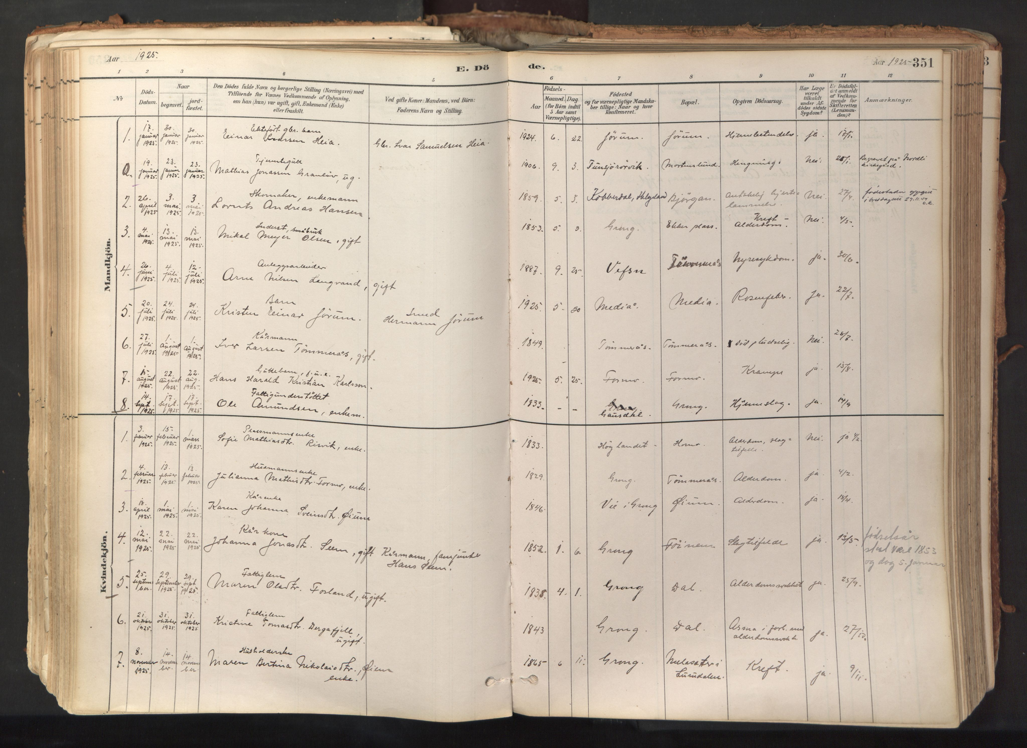 SAT, Ministerialprotokoller, klokkerbøker og fødselsregistre - Nord-Trøndelag, 758/L0519: Ministerialbok nr. 758A04, 1880-1926, s. 351