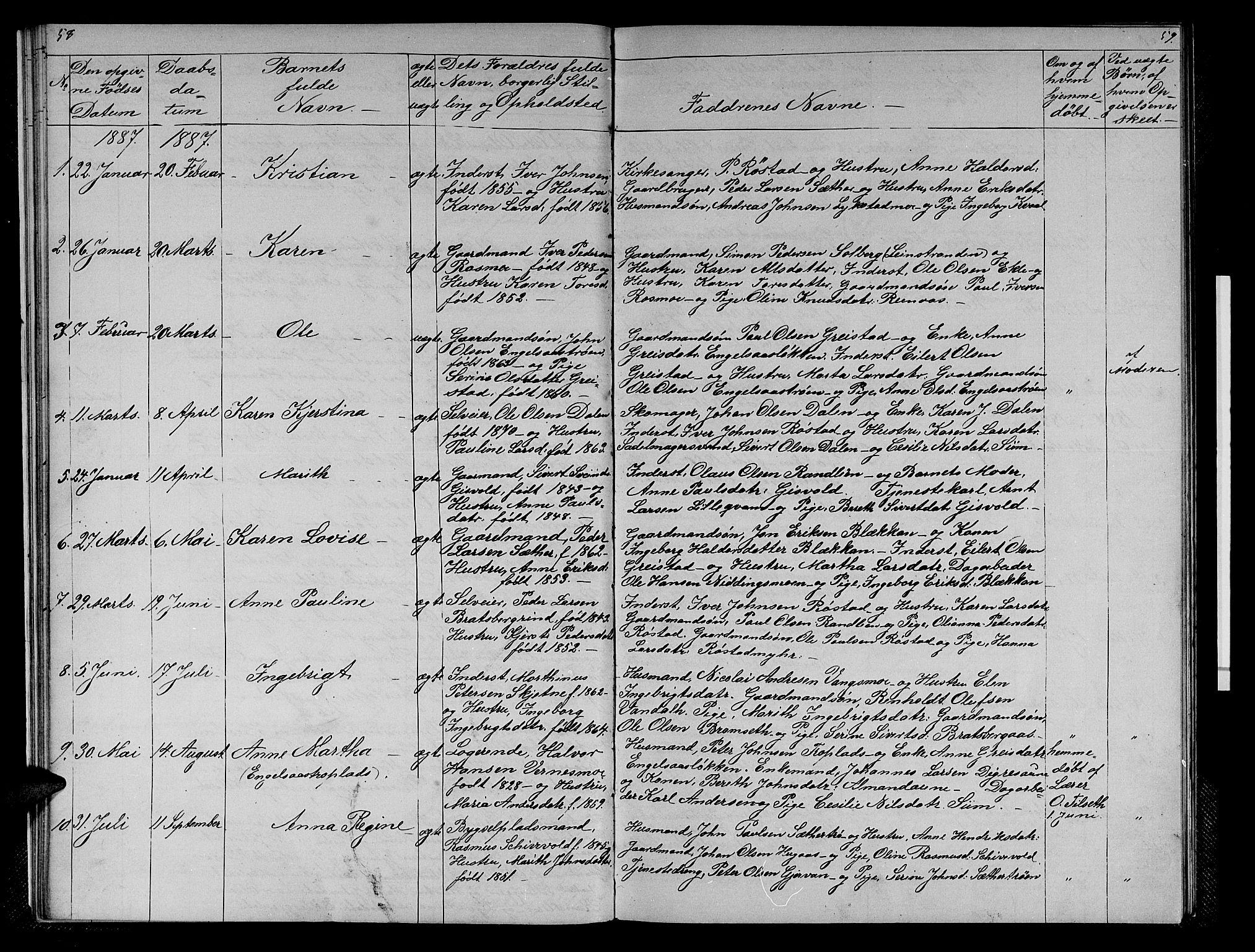 SAT, Ministerialprotokoller, klokkerbøker og fødselsregistre - Sør-Trøndelag, 608/L0340: Klokkerbok nr. 608C06, 1864-1889, s. 58-59