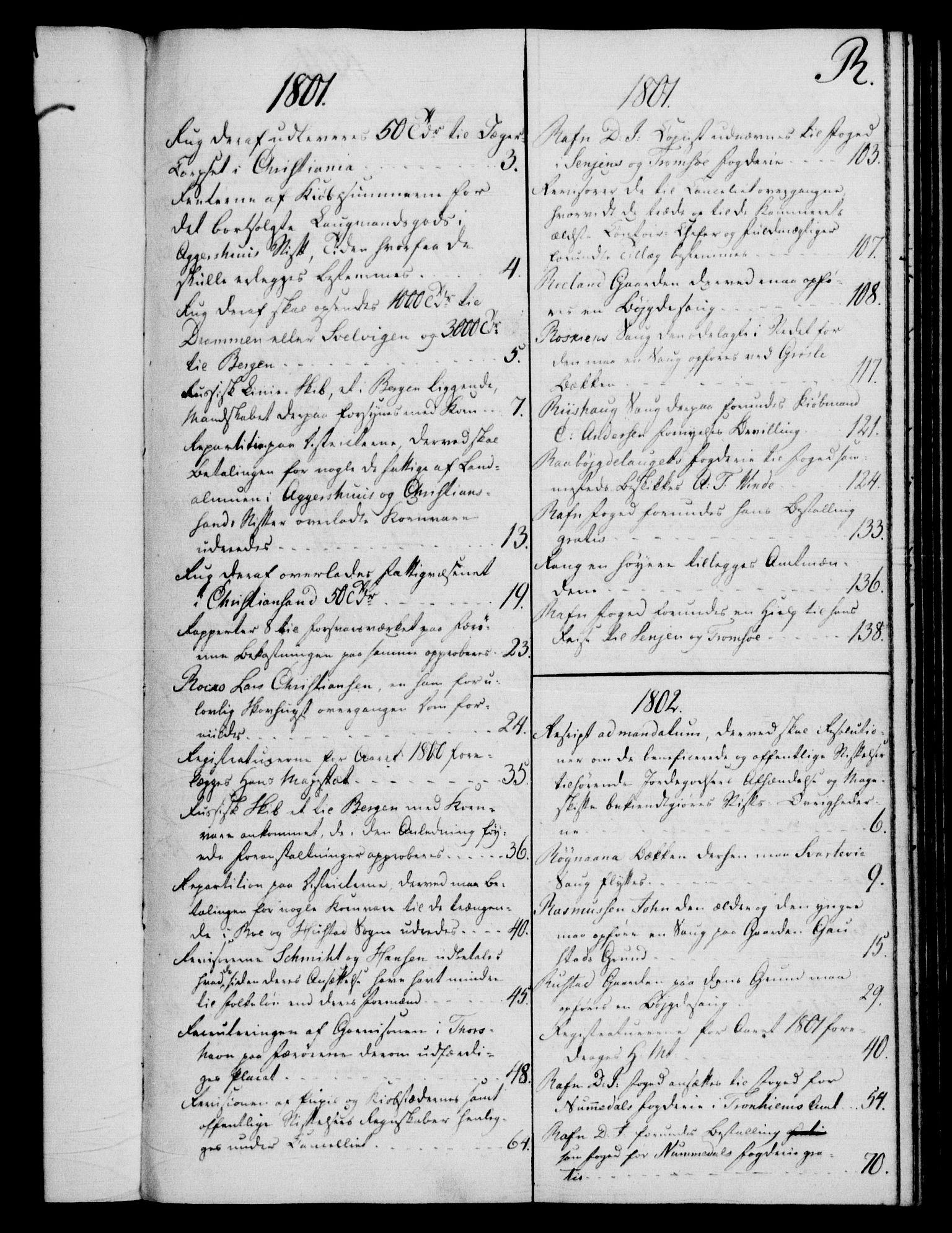 RA, Rentekammeret, Kammerkanselliet, G/Gf/Gfb/L0016: Register til norske relasjons- og resolusjonsprotokoller (merket RK 52.111), 1801-1814, s. 136