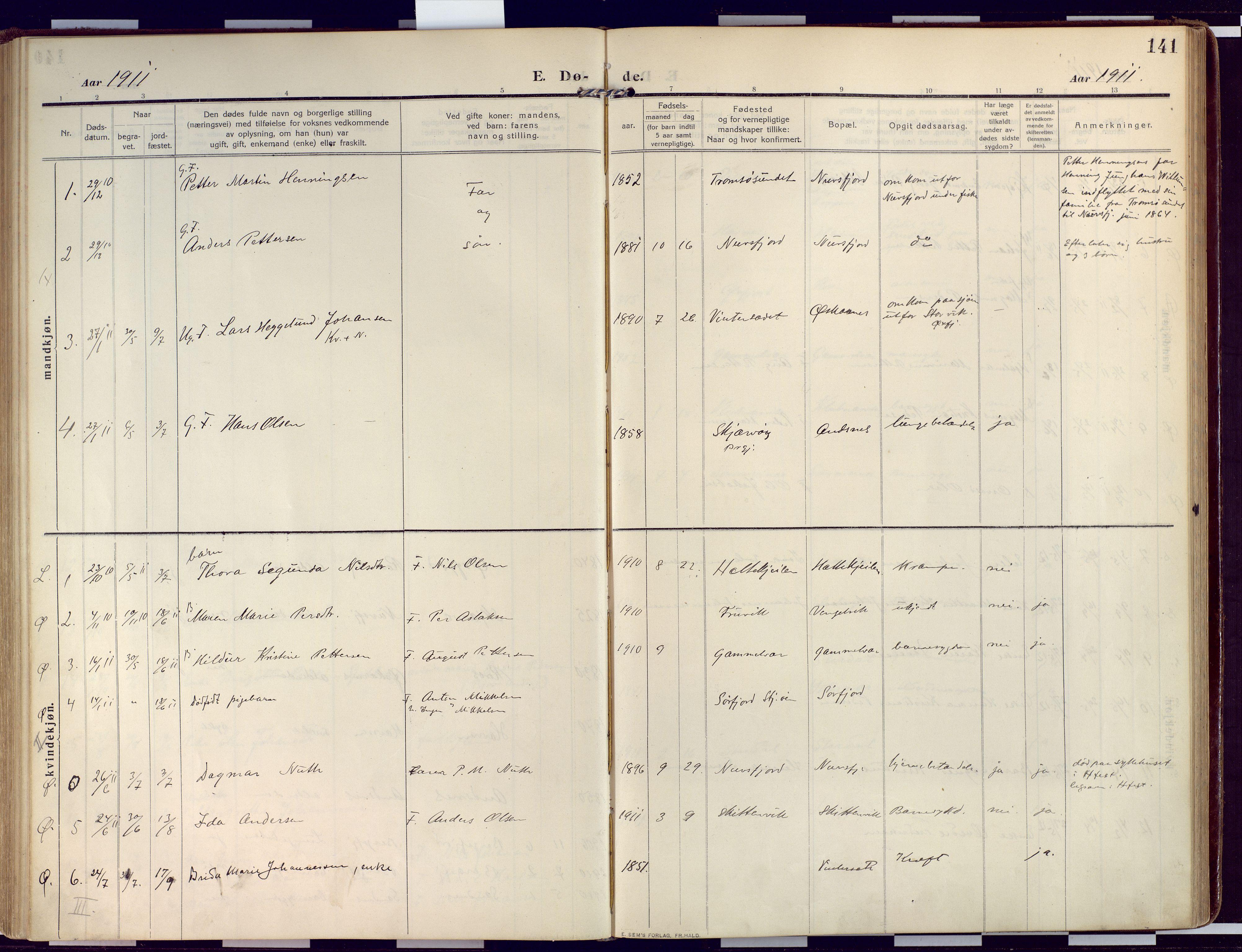 SATØ, Loppa sokneprestkontor, H/Ha/L0011kirke: Ministerialbok nr. 11, 1909-1919, s. 141