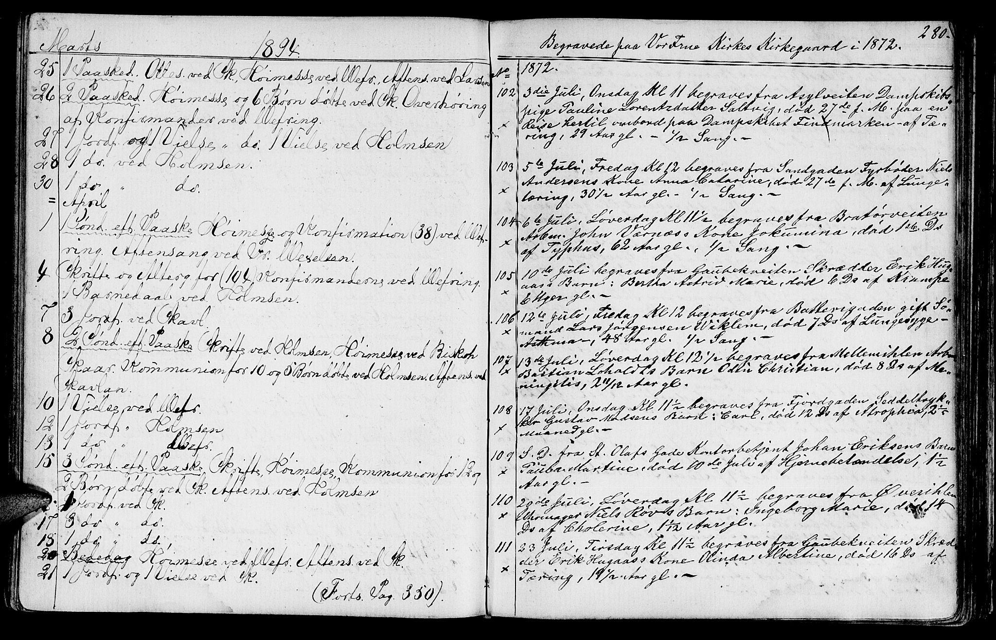 SAT, Ministerialprotokoller, klokkerbøker og fødselsregistre - Sør-Trøndelag, 602/L0142: Klokkerbok nr. 602C10, 1872-1894, s. 280
