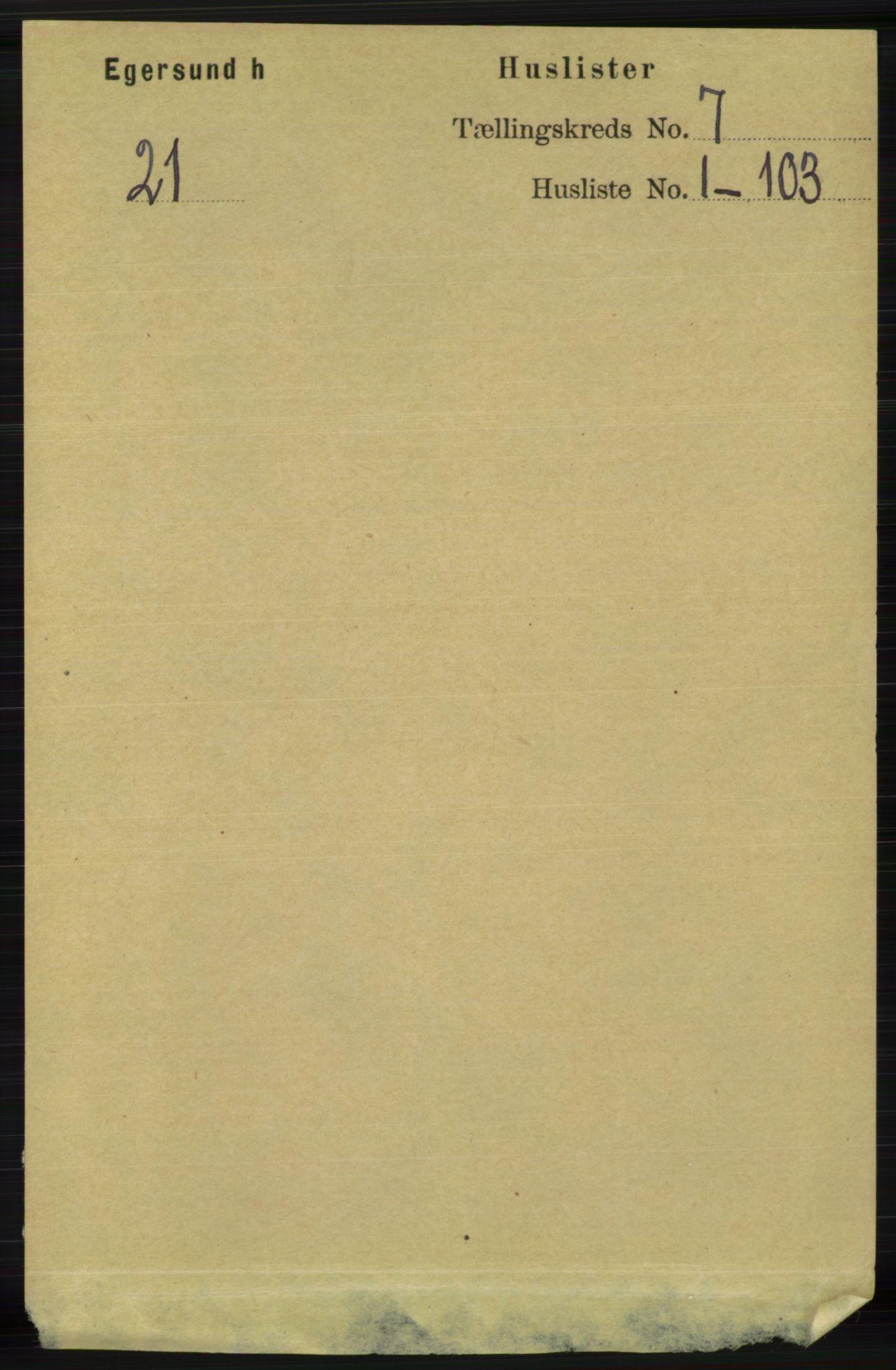 RA, Folketelling 1891 for 1116 Eigersund herred, 1891, s. 2721