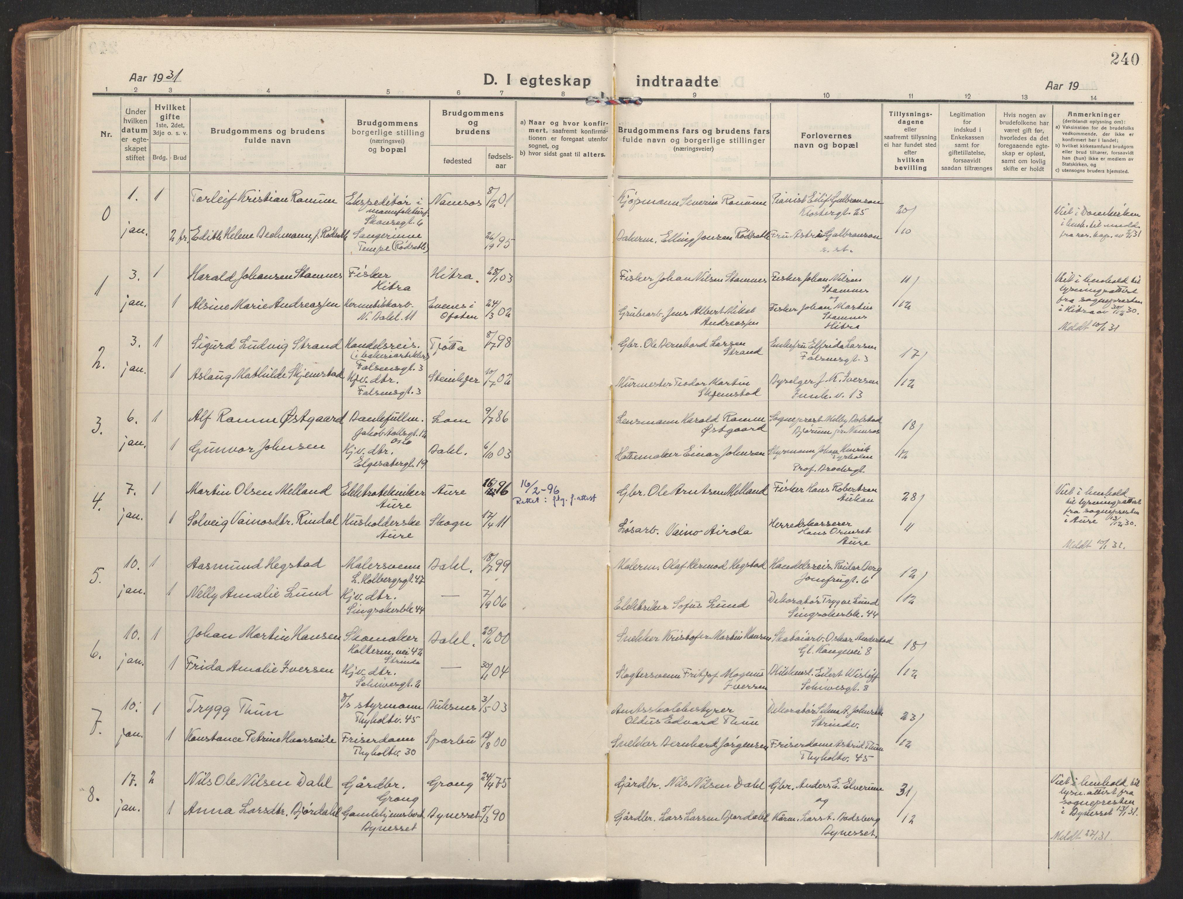 SAT, Ministerialprotokoller, klokkerbøker og fødselsregistre - Sør-Trøndelag, 604/L0206: Ministerialbok nr. 604A26, 1917-1931, s. 240