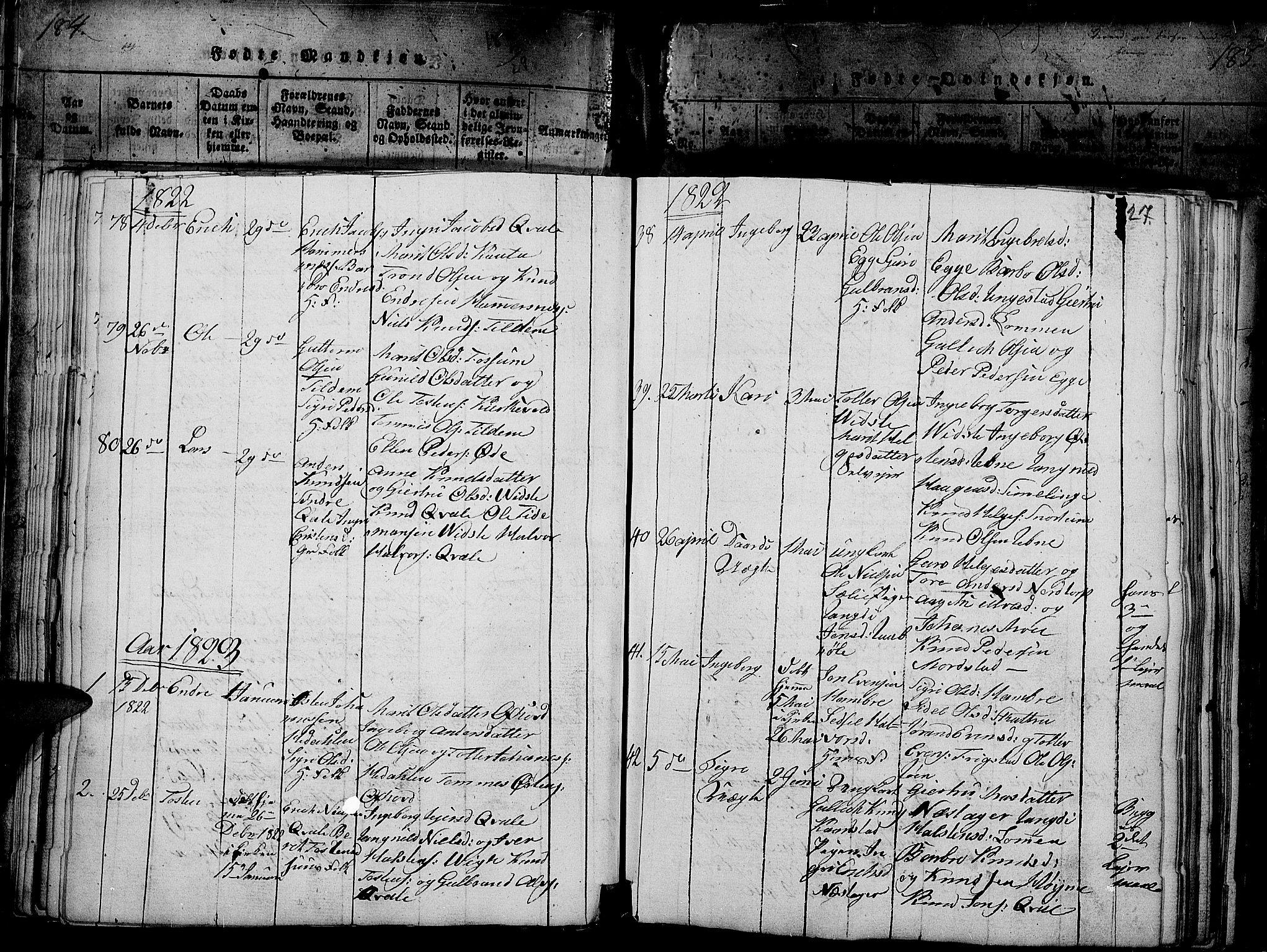 SAH, Slidre prestekontor, Ministerialbok nr. 2, 1814-1830, s. 185a