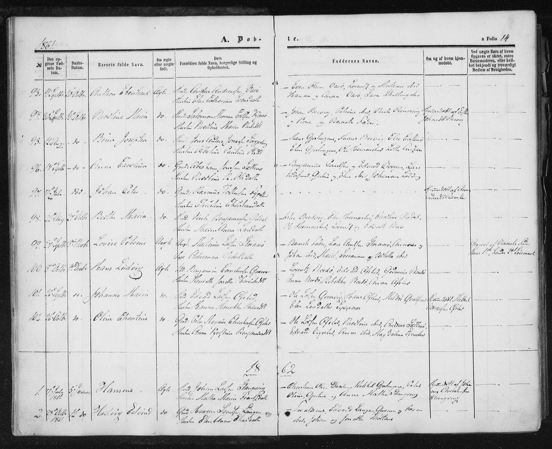 SAT, Ministerialprotokoller, klokkerbøker og fødselsregistre - Nord-Trøndelag, 784/L0670: Ministerialbok nr. 784A05, 1860-1876, s. 14