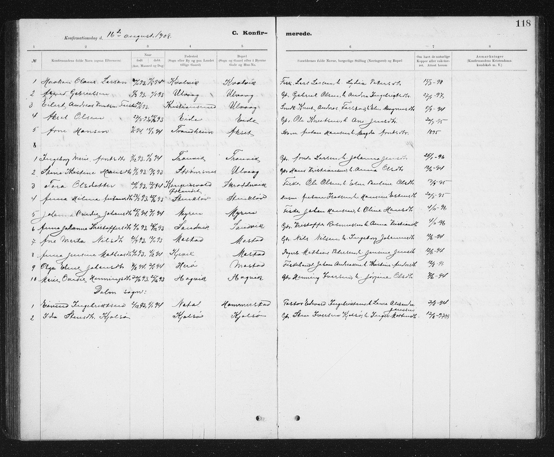 SAT, Ministerialprotokoller, klokkerbøker og fødselsregistre - Sør-Trøndelag, 637/L0563: Klokkerbok nr. 637C04, 1899-1940, s. 118
