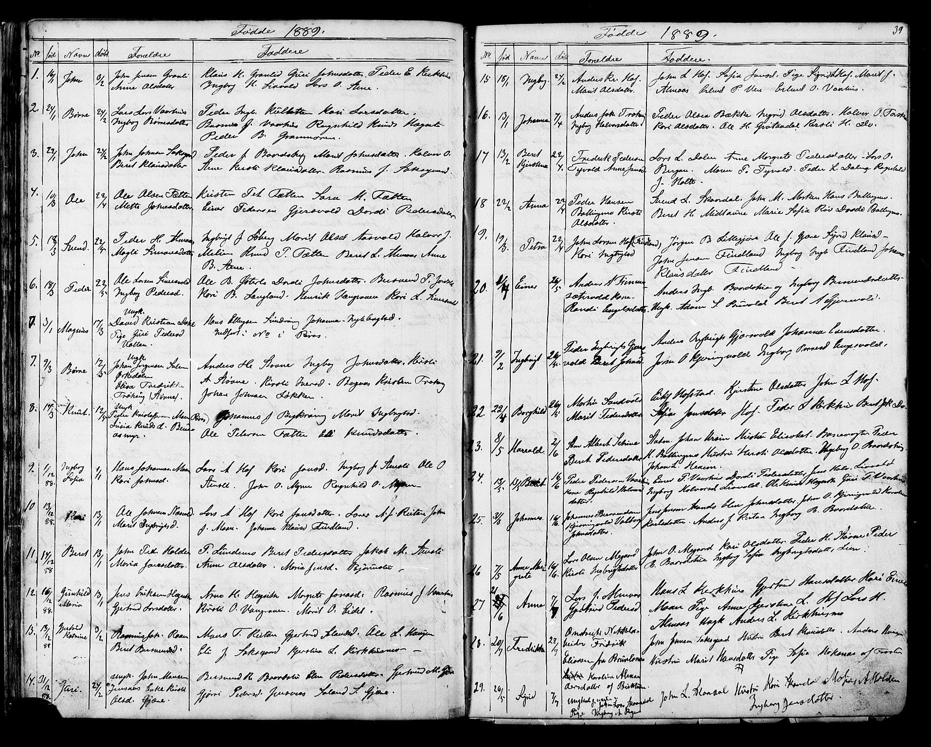 SAT, Ministerialprotokoller, klokkerbøker og fødselsregistre - Sør-Trøndelag, 686/L0985: Klokkerbok nr. 686C01, 1871-1933, s. 39