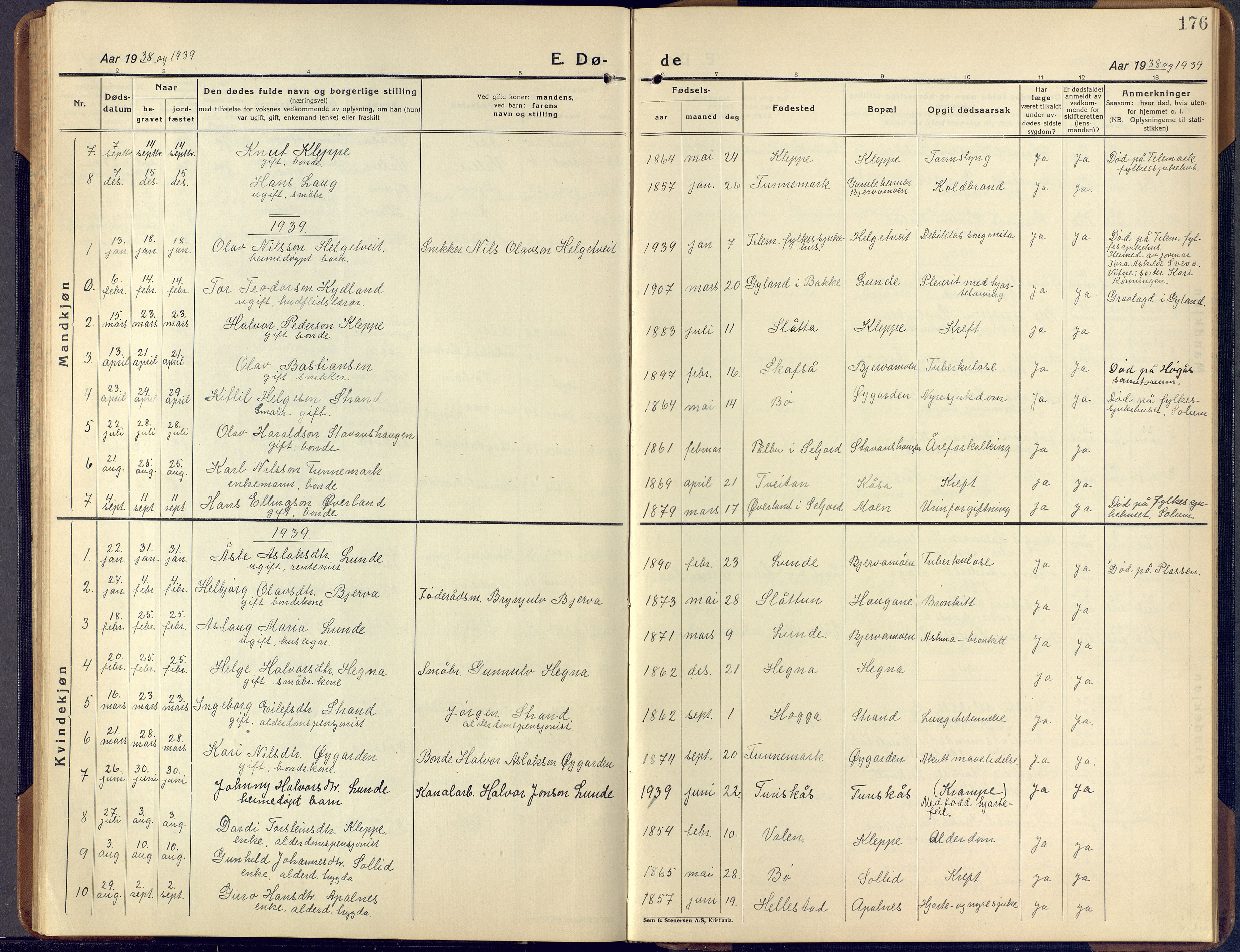SAKO, Lunde kirkebøker, F/Fa/L0006: Ministerialbok nr. I 6, 1922-1940, s. 176