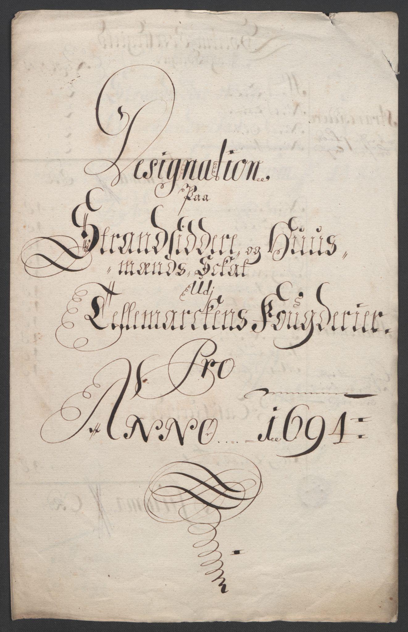 RA, Rentekammeret inntil 1814, Reviderte regnskaper, Fogderegnskap, R36/L2092: Fogderegnskap Øvre og Nedre Telemark og Bamble, 1694, s. 56