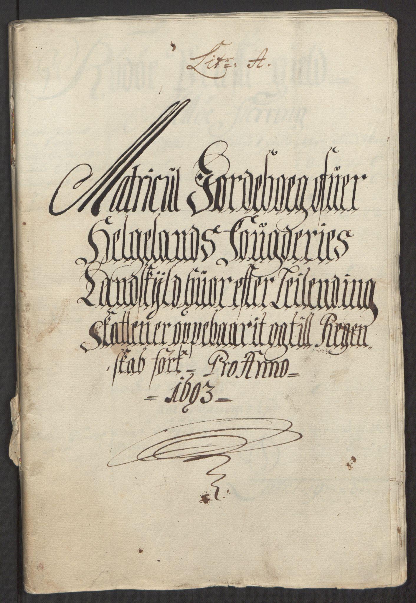 RA, Rentekammeret inntil 1814, Reviderte regnskaper, Fogderegnskap, R65/L4505: Fogderegnskap Helgeland, 1693-1696, s. 11