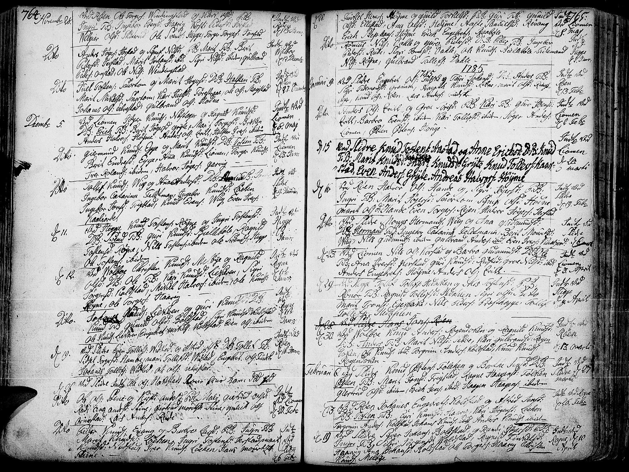 SAH, Slidre prestekontor, Ministerialbok nr. 1, 1724-1814, s. 764-765