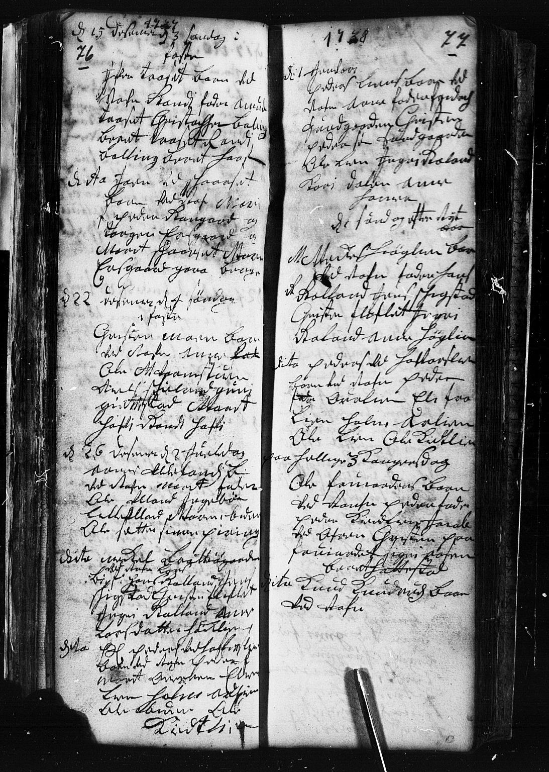 SAH, Fåberg prestekontor, Klokkerbok nr. 1, 1727-1767, s. 76-77
