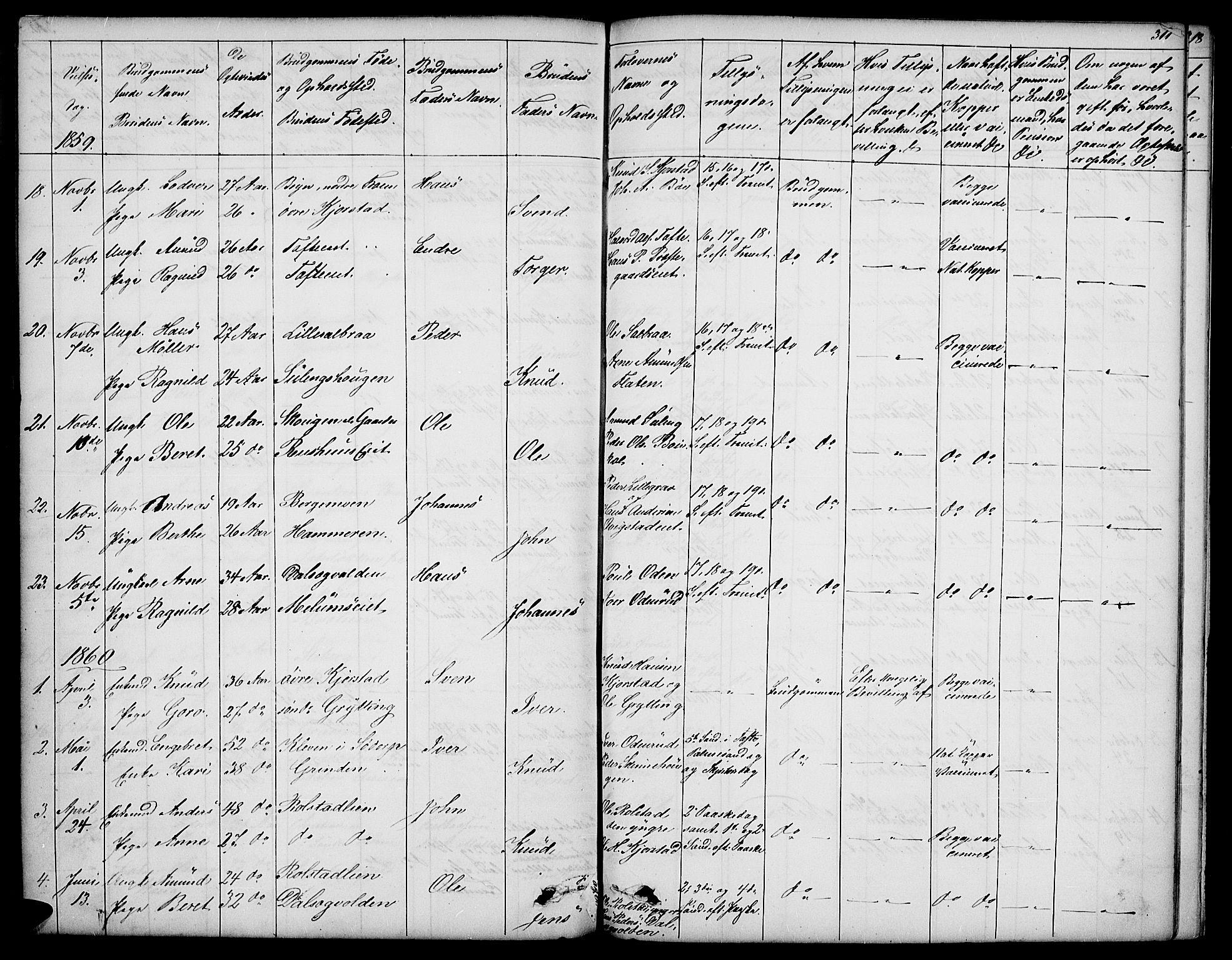 SAH, Sør-Fron prestekontor, H/Ha/Hab/L0001: Klokkerbok nr. 1, 1844-1863, s. 311