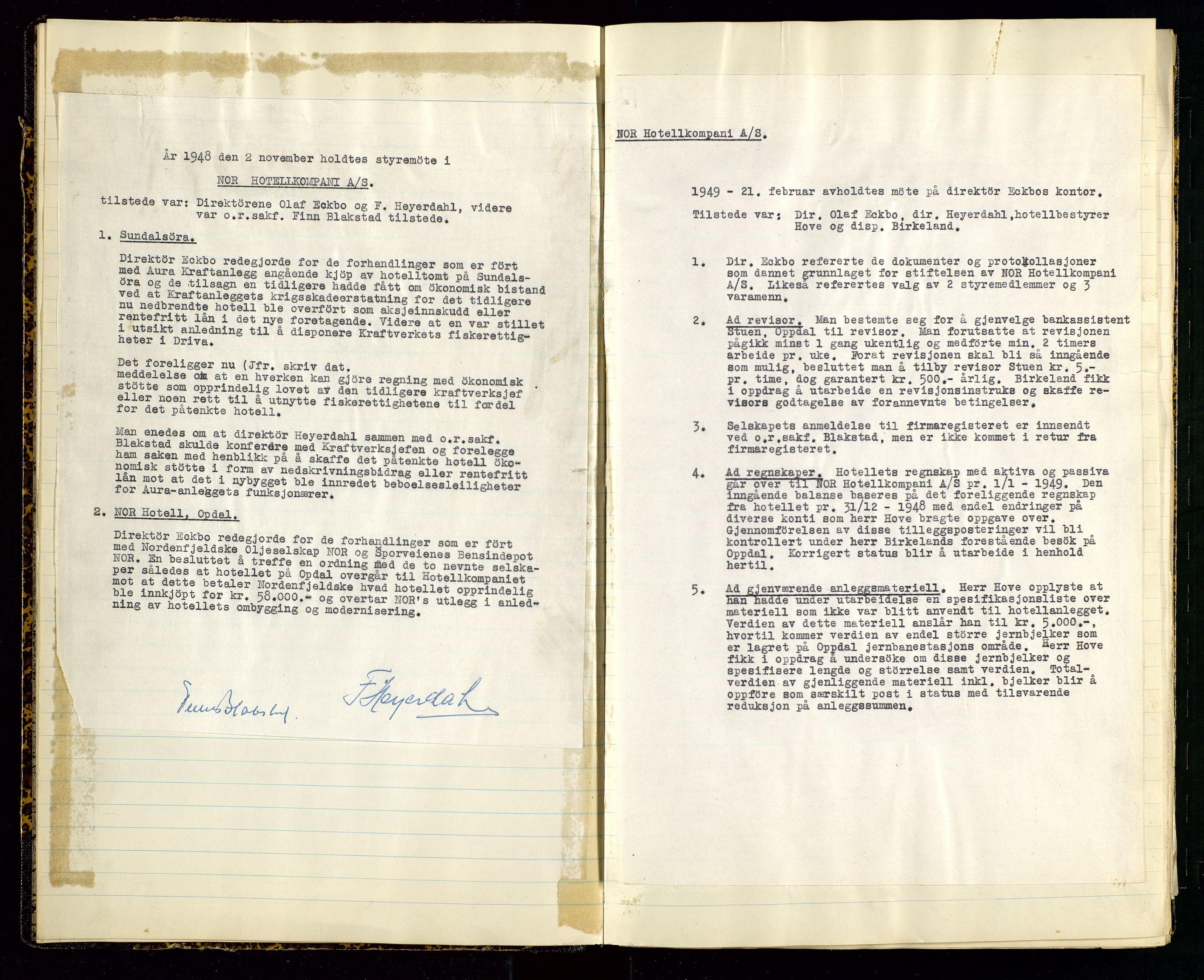 SAST, PA 1516 - Nor Hotellkompani A/S, A/L0001: Referatprotokoll, 1948-1855, s. 5