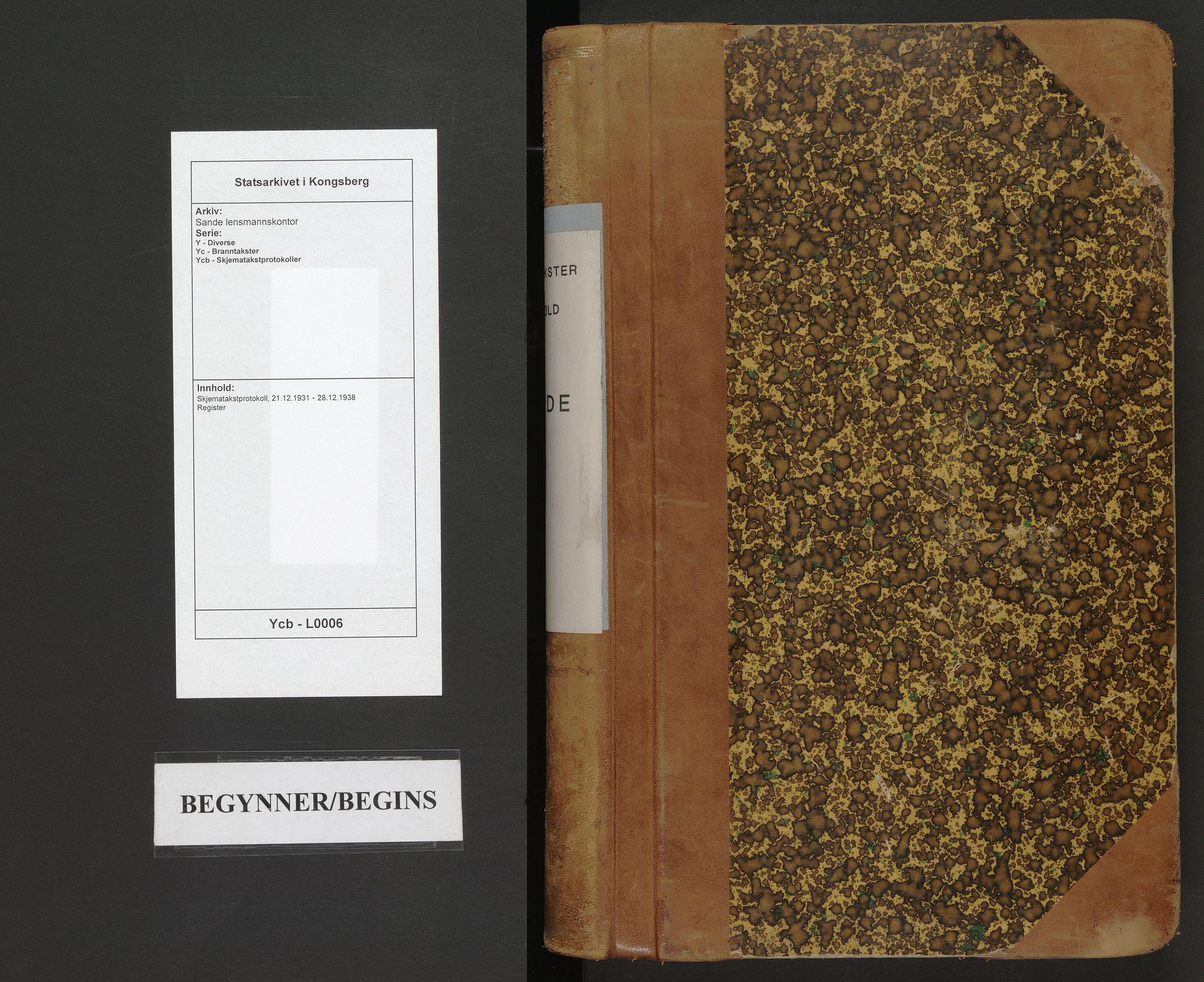 SAKO, Sande lensmannskontor, Y/Yc/Ycb/L0006: Skjematakstprotokoll, 1931-1938