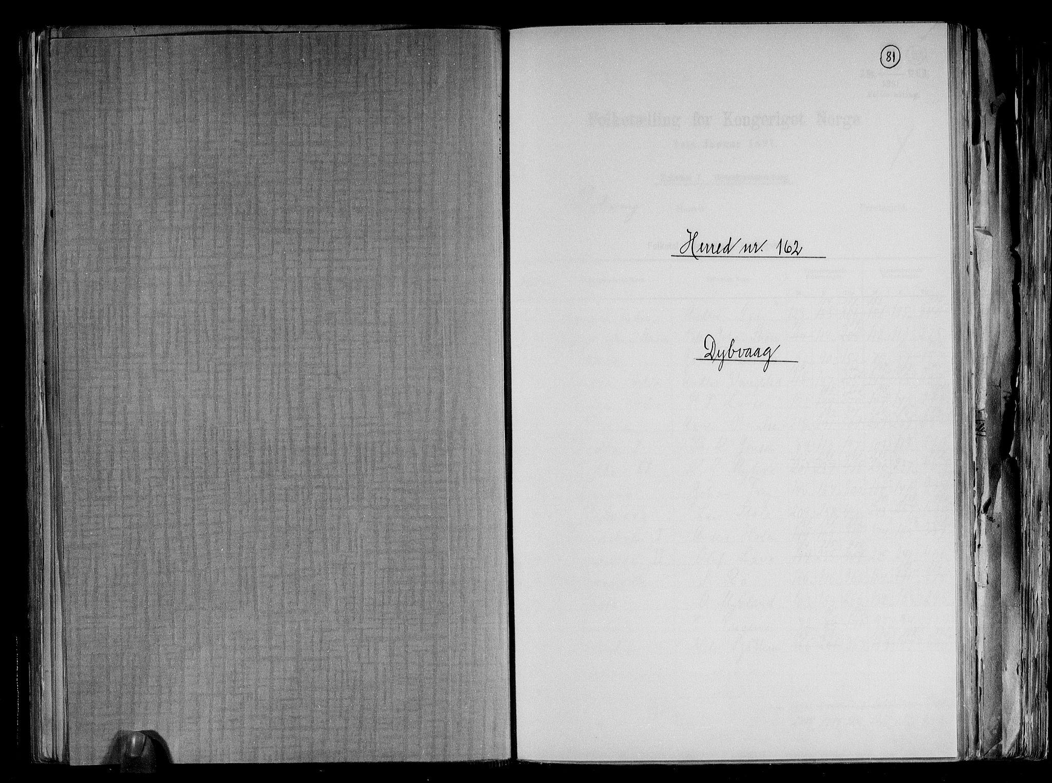 RA, Folketelling 1891 for 0915 Dypvåg herred, 1891, s. 1