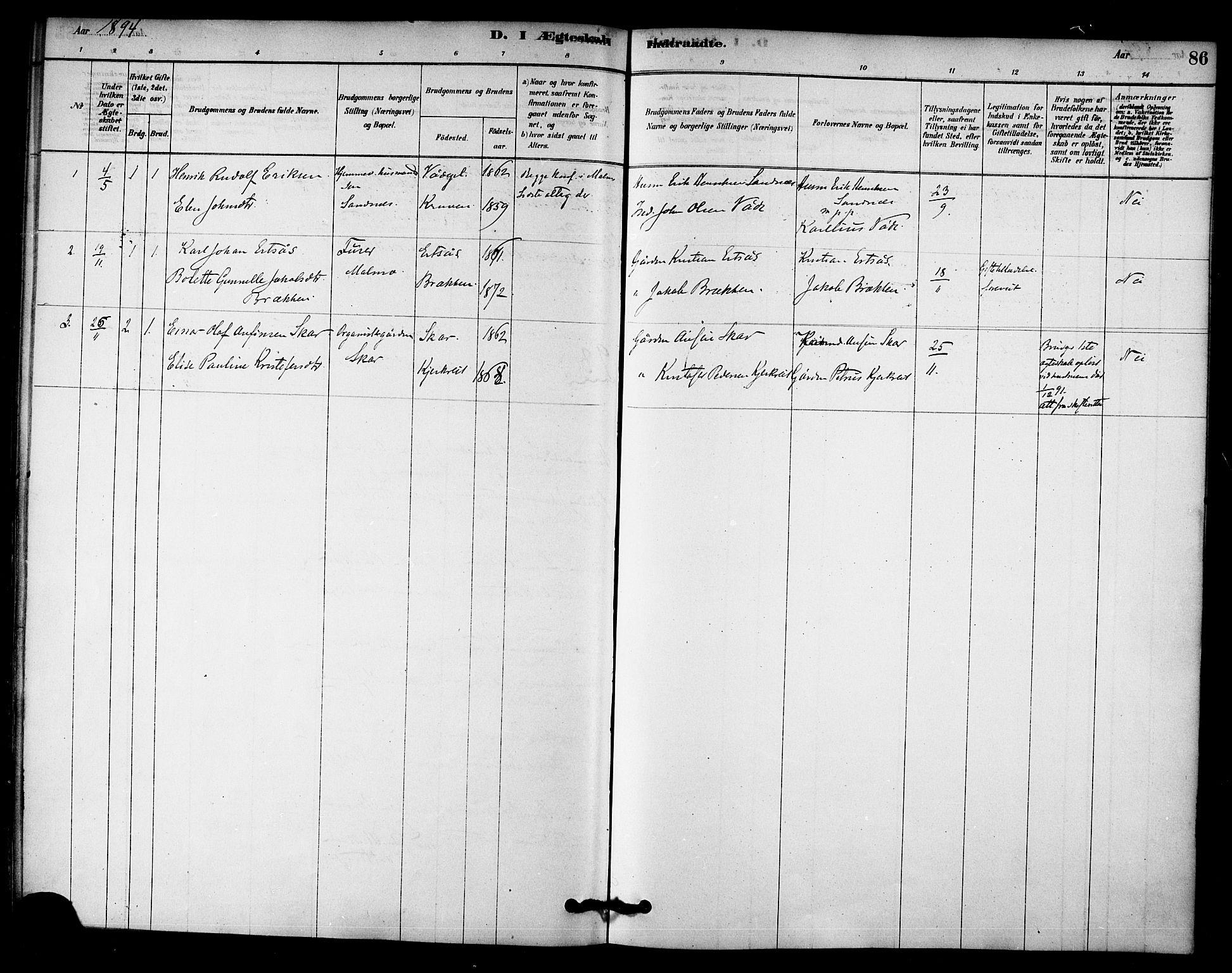 SAT, Ministerialprotokoller, klokkerbøker og fødselsregistre - Nord-Trøndelag, 745/L0429: Ministerialbok nr. 745A01, 1878-1894, s. 86