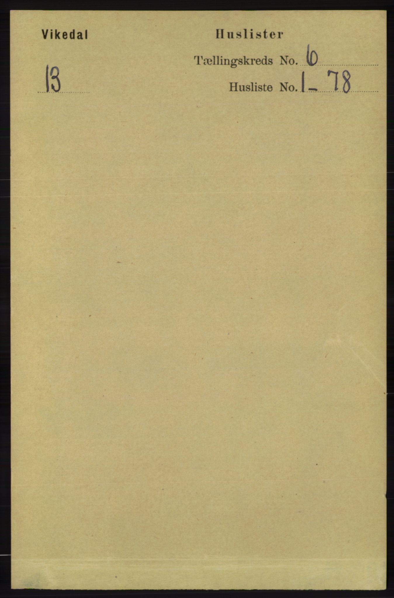 RA, Folketelling 1891 for 1157 Vikedal herred, 1891, s. 1490