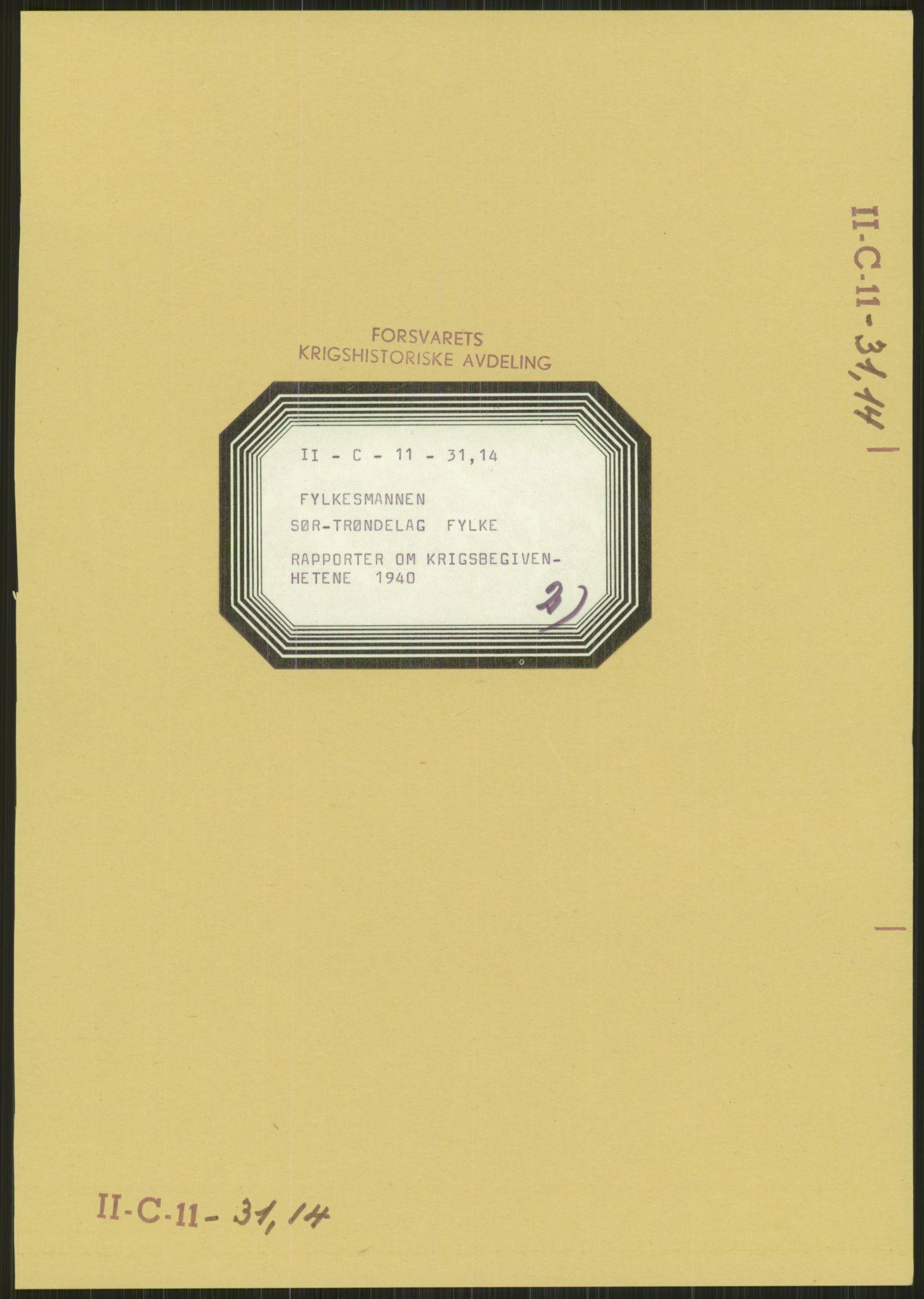 RA, Forsvaret, Forsvarets krigshistoriske avdeling, Y/Ya/L0016: II-C-11-31 - Fylkesmenn.  Rapporter om krigsbegivenhetene 1940., 1940, s. 218