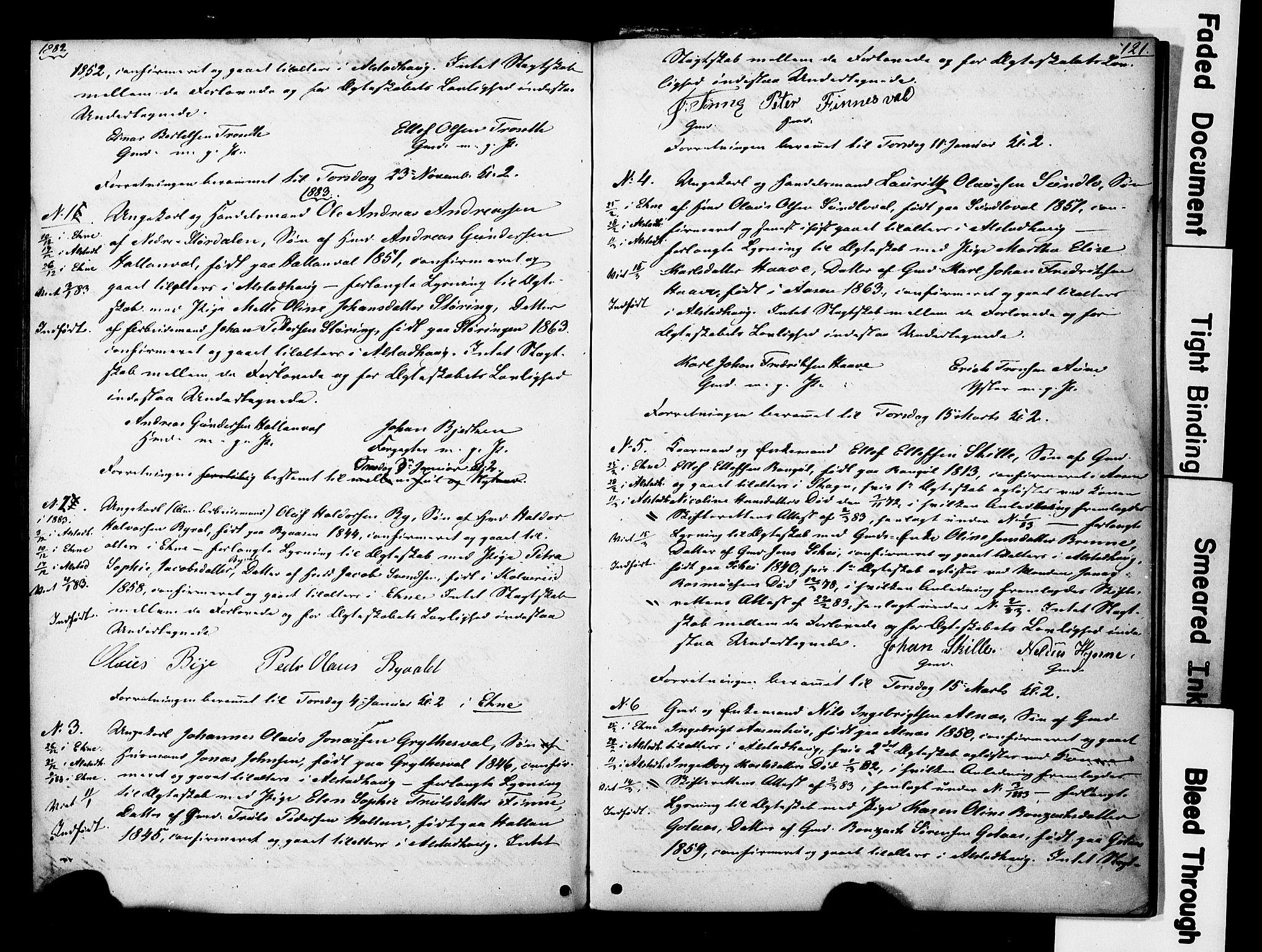 SAT, Ministerialprotokoller, klokkerbøker og fødselsregistre - Nord-Trøndelag, 717/L0161: Forlovererklæringer nr. 717A11, 1850-1895, s. 121