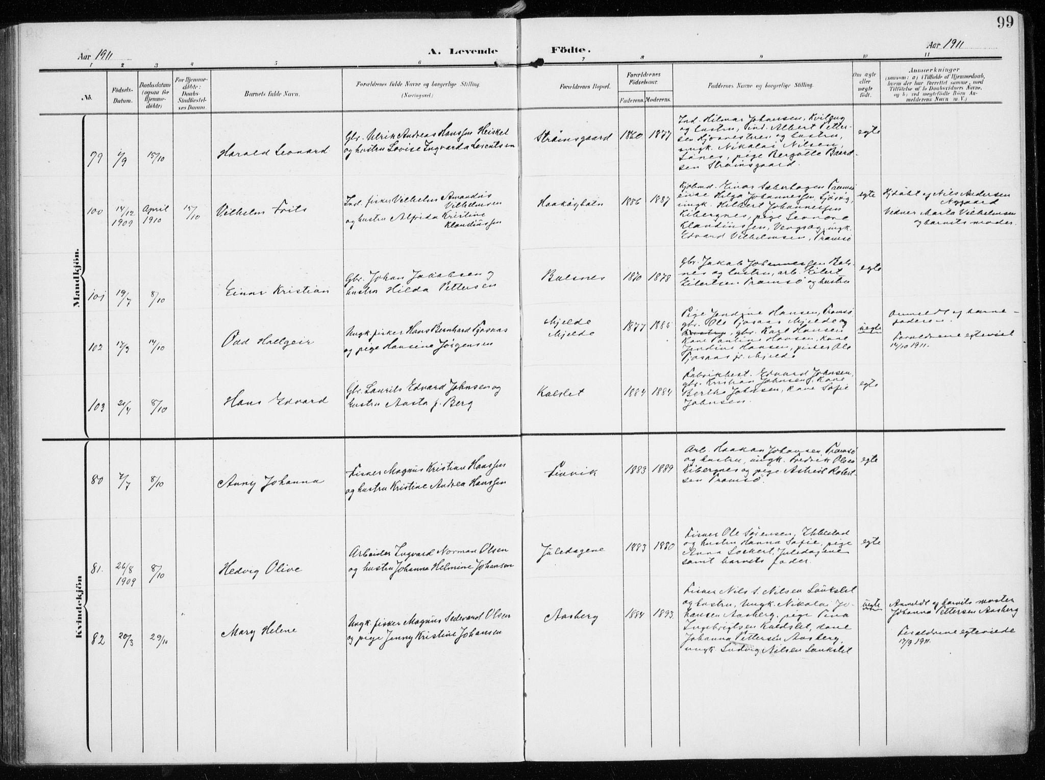 SATØ, Tromsøysund sokneprestkontor, G/Ga/L0007kirke: Ministerialbok nr. 7, 1907-1914, s. 99